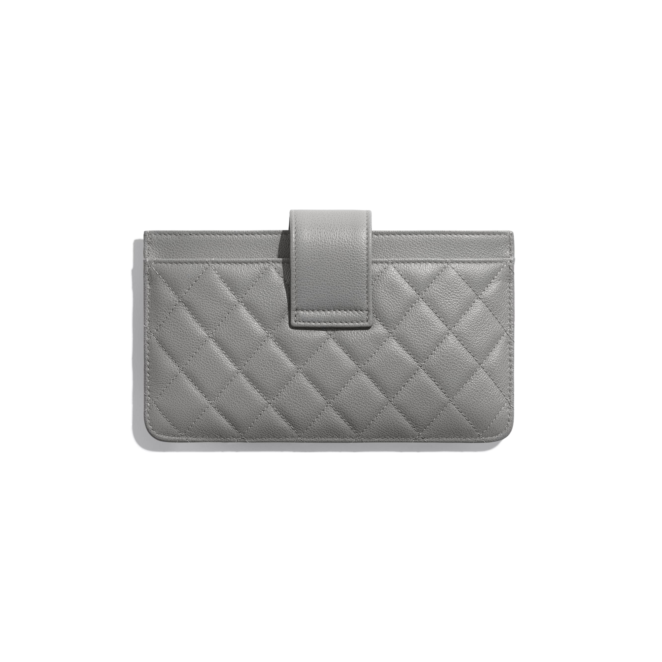 Pouch - Gray - Grained Calfskin & Silver-Tone Metal - CHANEL - Alternative view - see standard sized version