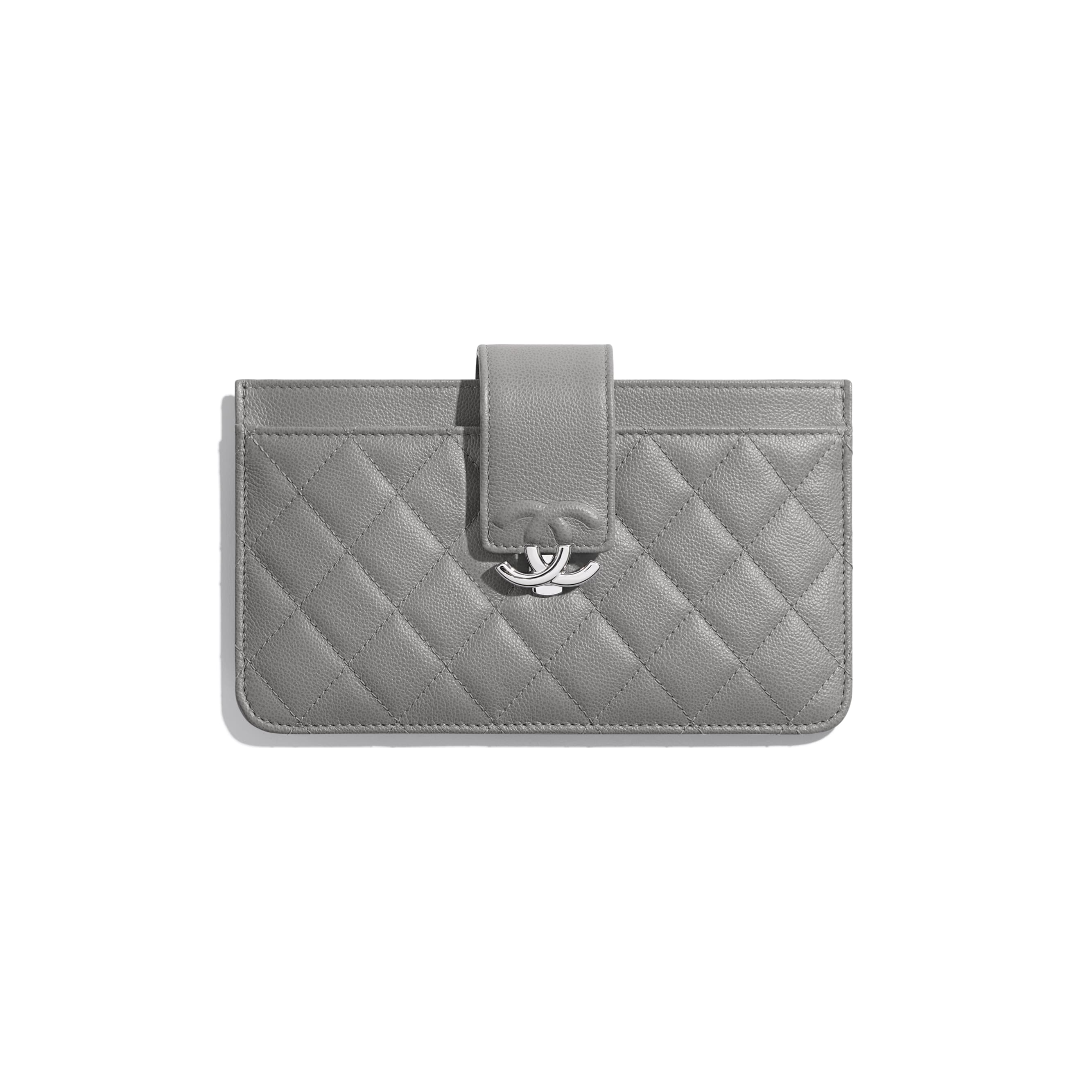Pouch - Gray - Grained Calfskin & Silver-Tone Metal - CHANEL - Default view - see standard sized version