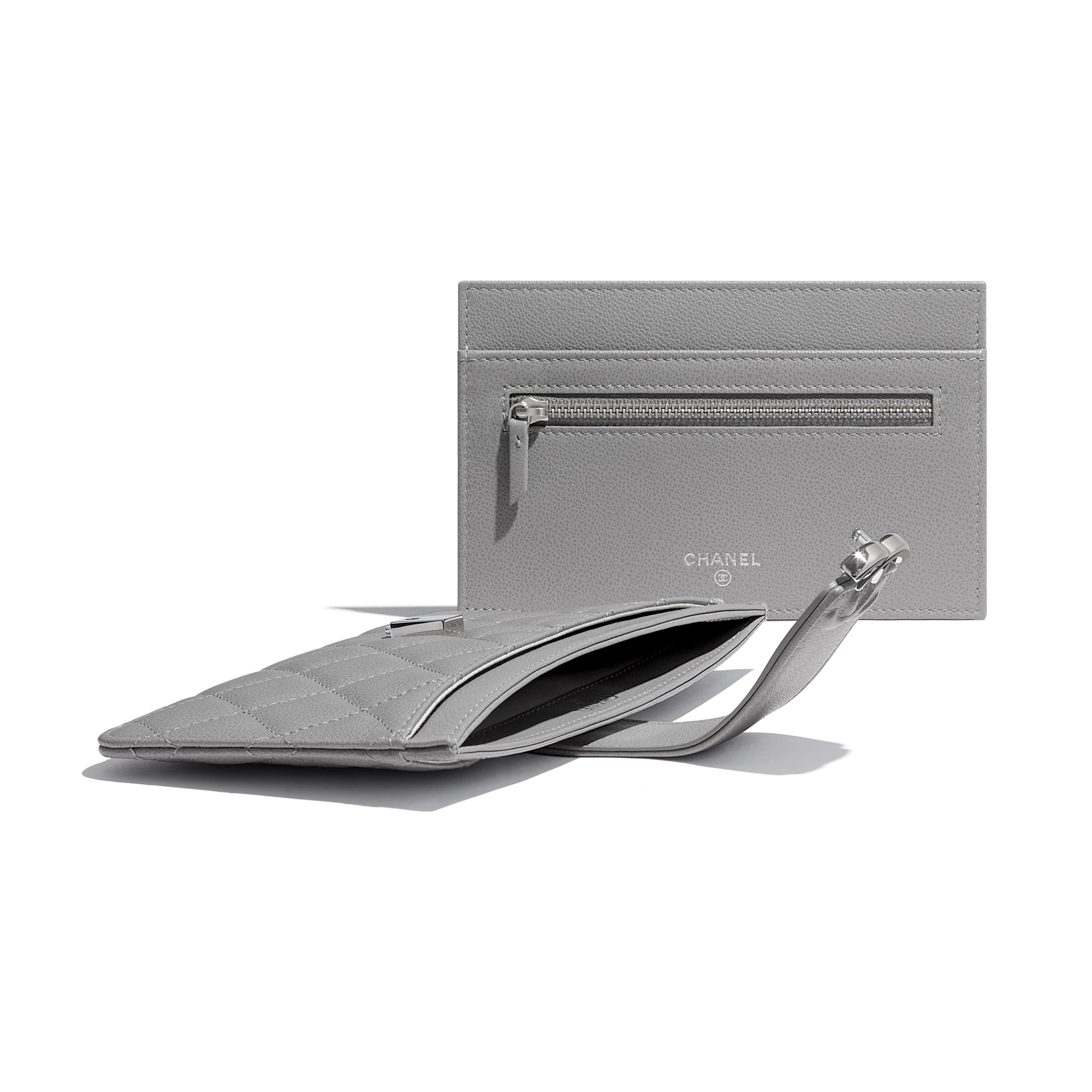 Pouch - Gray - Grained Calfskin & Silver-Tone Metal - CHANEL - Extra view - see standard sized version