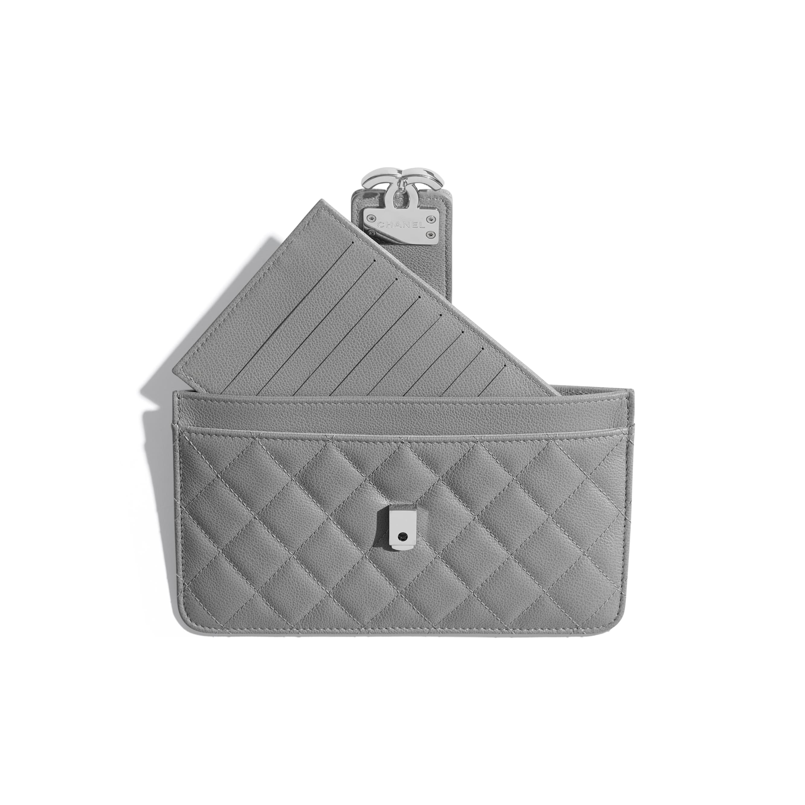 Pouch - Gray - Grained Calfskin & Silver-Tone Metal - CHANEL - Other view - see standard sized version