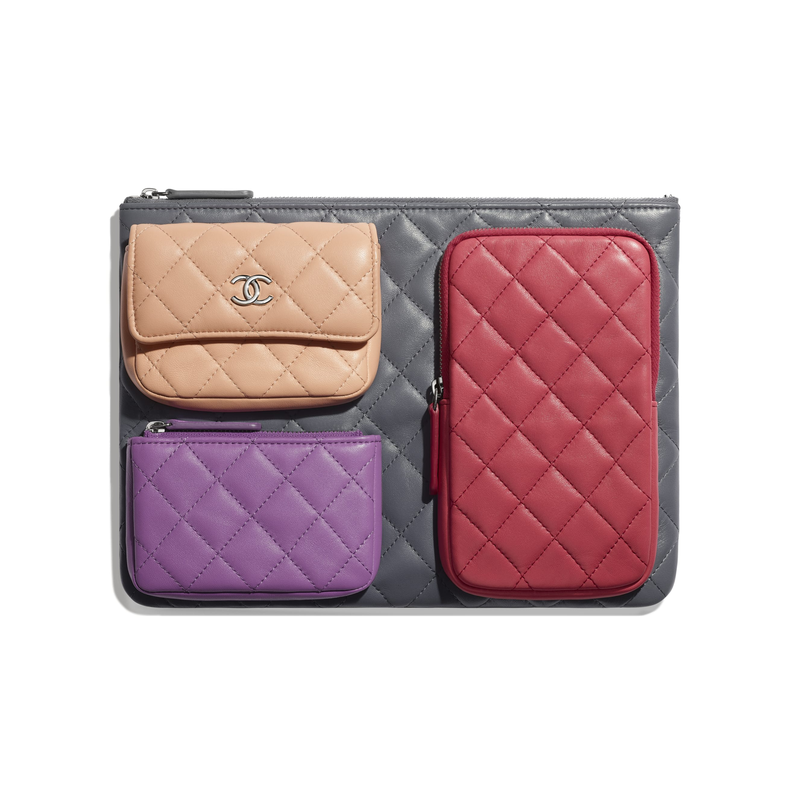 Pouch - Grey, Pink, Purple & Light Pink - Lambskin - CHANEL - Default view - see standard sized version