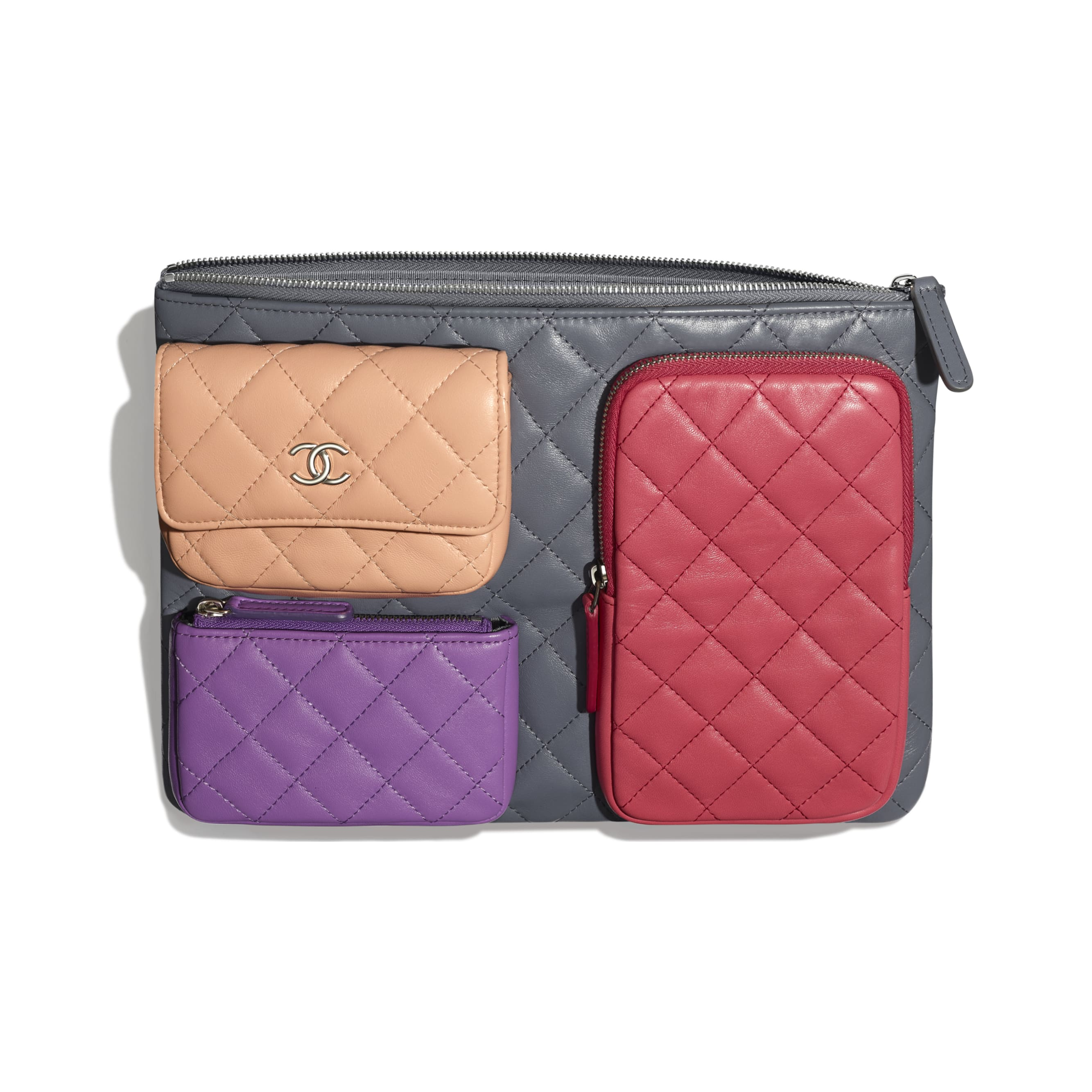 Pouch - Grey, Pink, Purple & Light Pink - Lambskin - CHANEL - Other view - see standard sized version