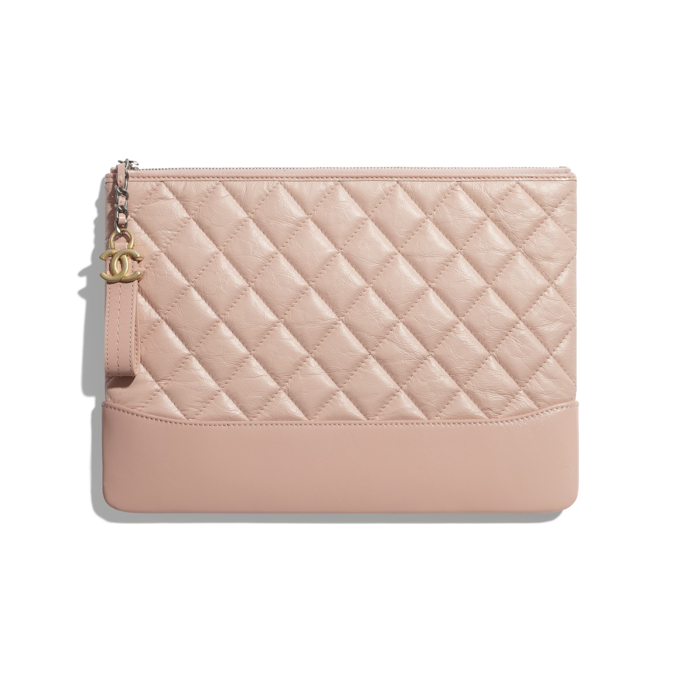 Pouch - Light Pink - Aged Calfskin, Smooth Calfskin & Gold-Tone Metal - CHANEL - Default view - see standard sized version