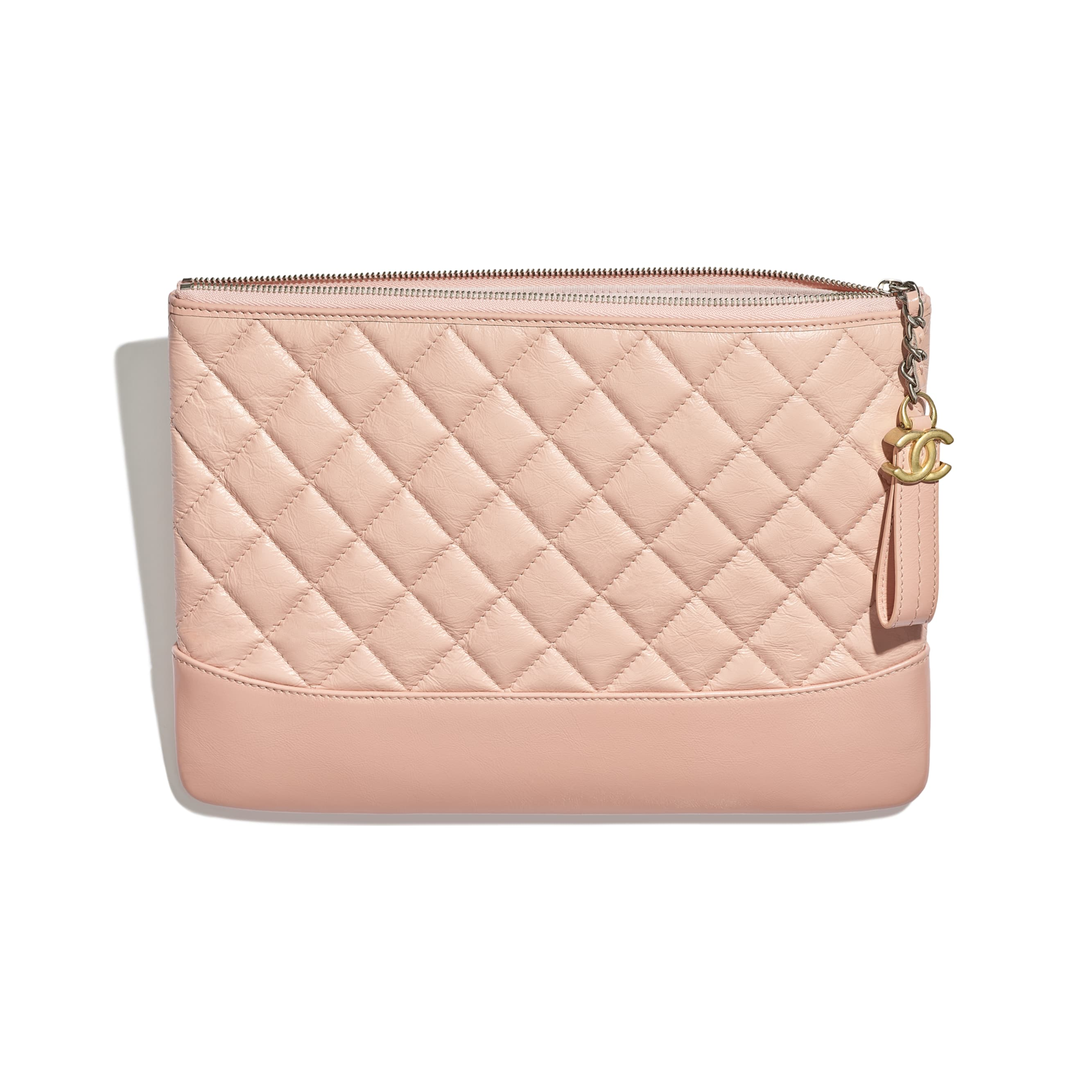 Pouch - Light Pink - Aged Calfskin, Smooth Calfskin & Gold-Tone Metal - CHANEL - Other view - see standard sized version