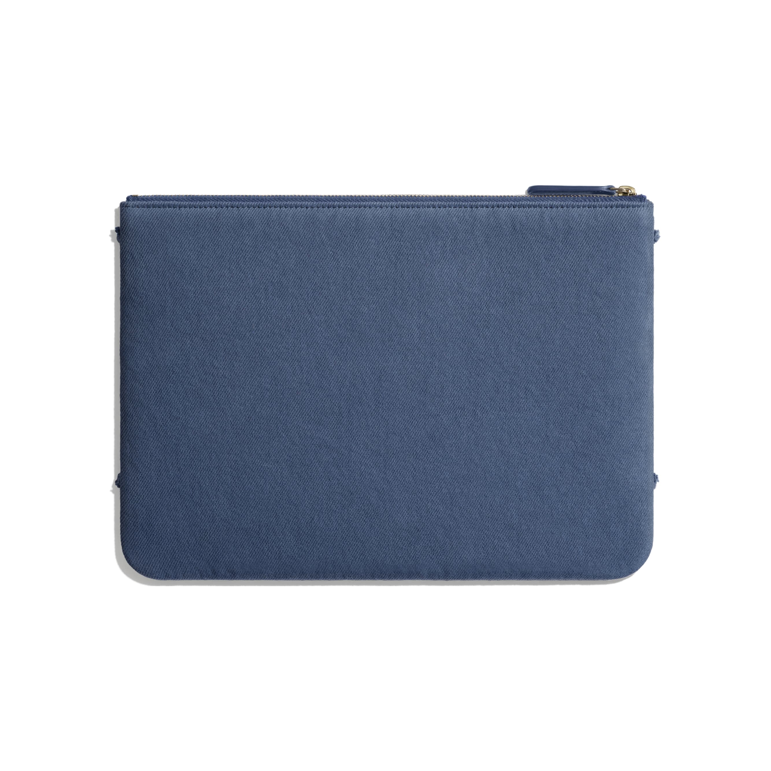 Pouch - Navy Blue - Denim & Gold Metal - Alternative view - see standard sized version