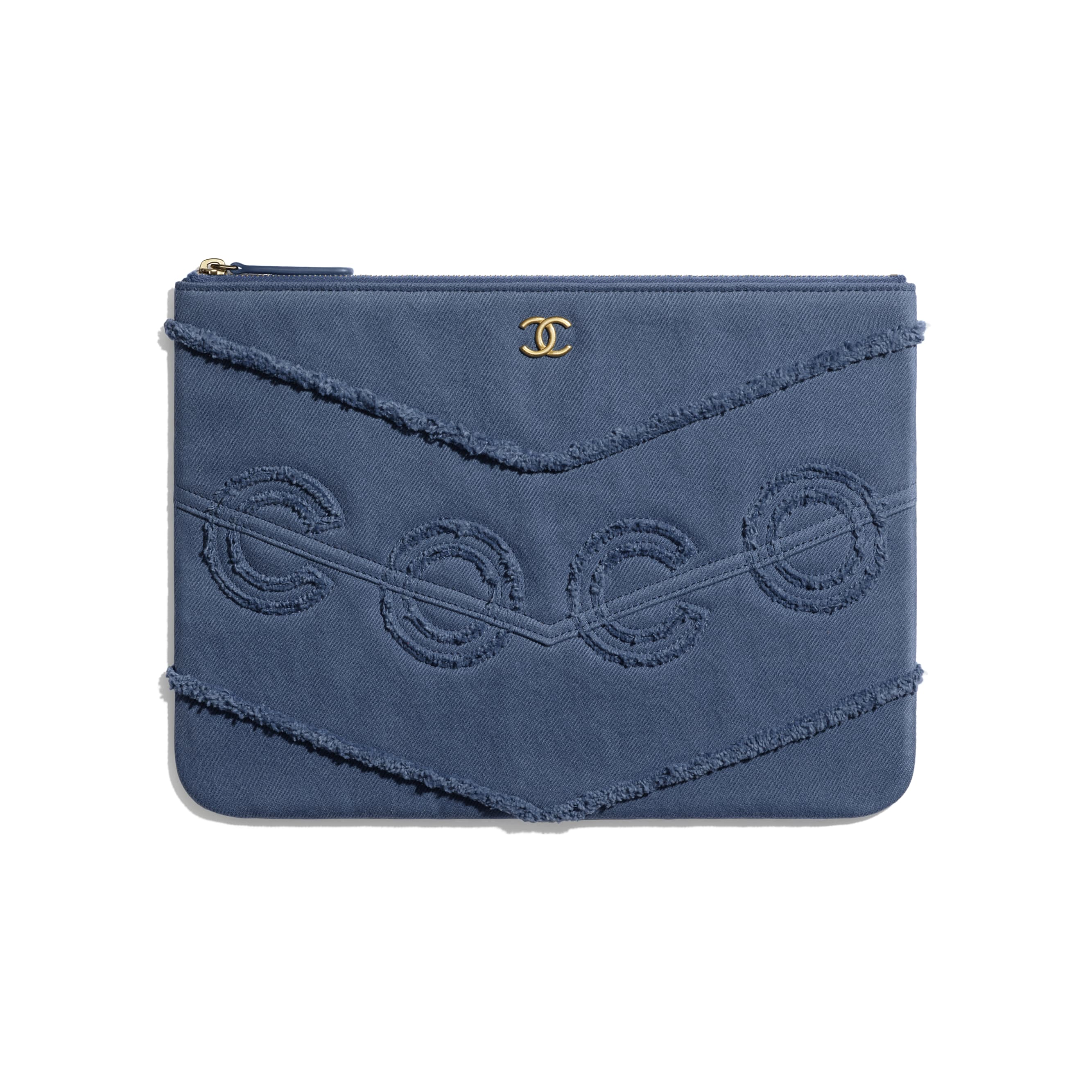 Pouch - Navy Blue - Denim & Gold Metal - Default view - see standard sized version