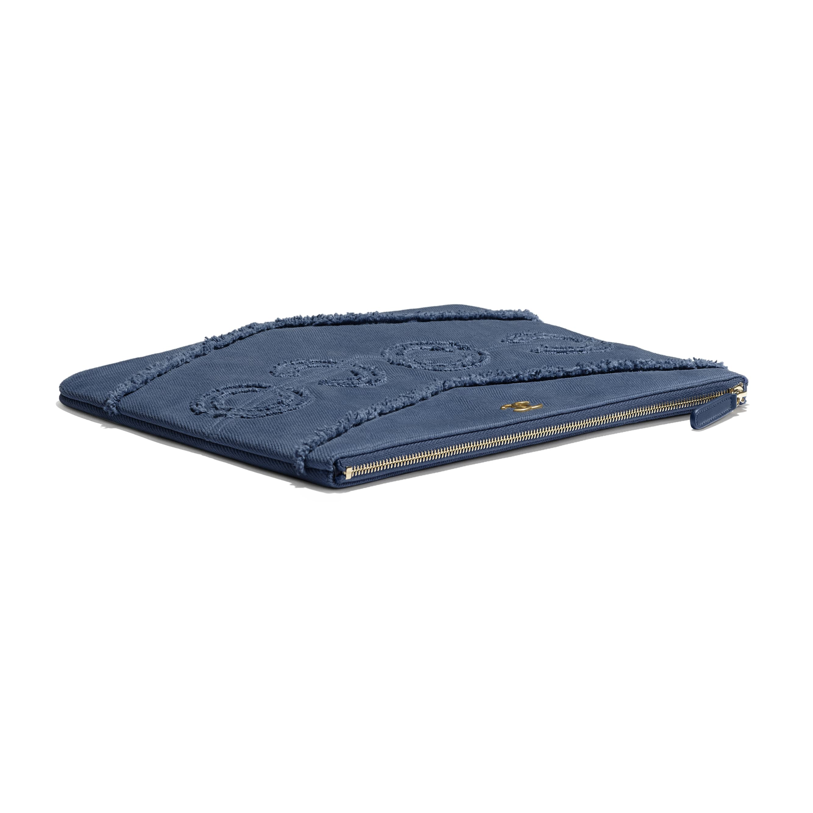 Pouch - Navy Blue - Denim & Gold Metal - Extra view - see standard sized version