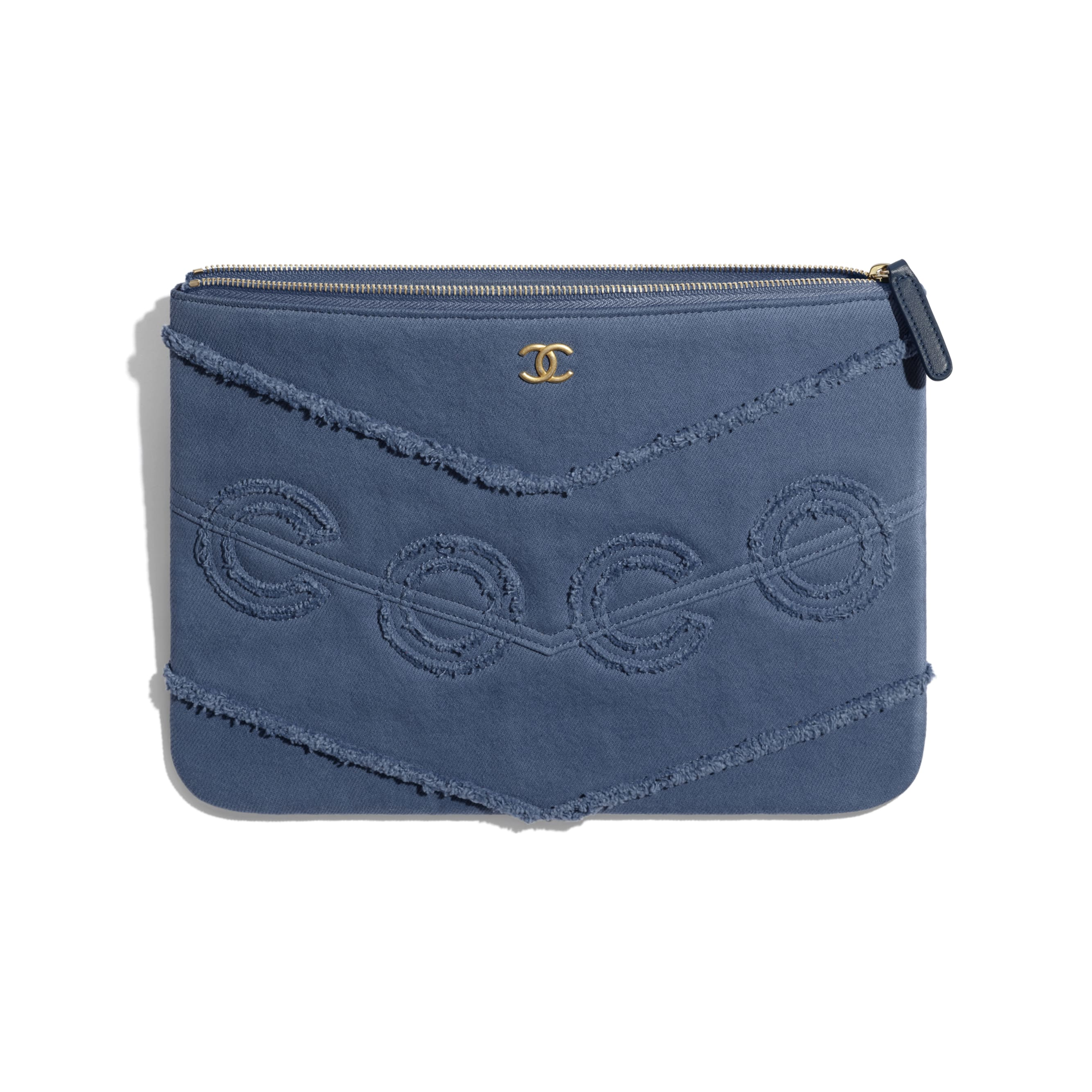 Pouch - Navy Blue - Denim & Gold Metal - Other view - see standard sized version