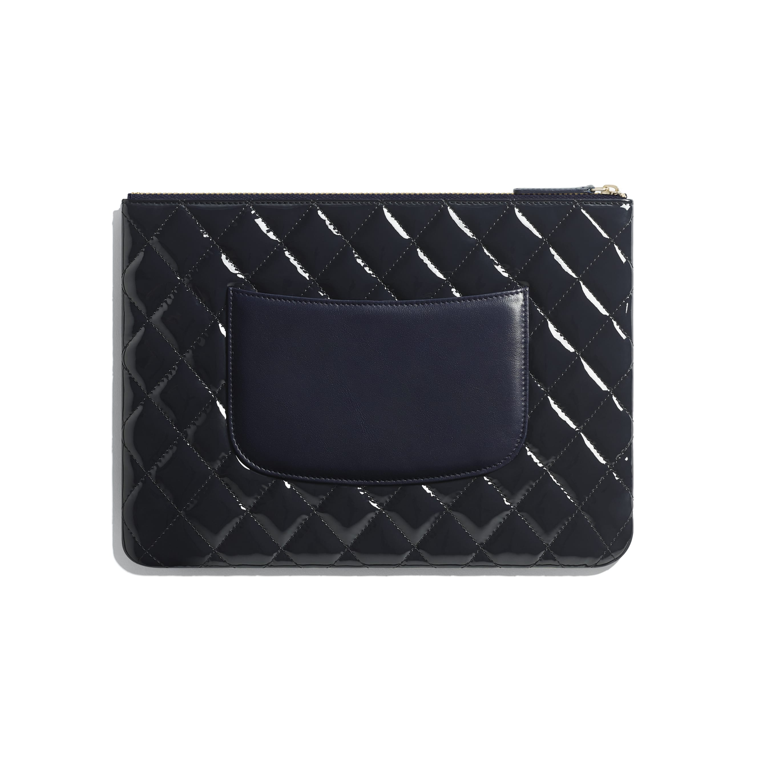 Pouch - Navy Blue - Patent Calfskin, Lambskin & Gold-Tone Metal - CHANEL - Alternative view - see standard sized version