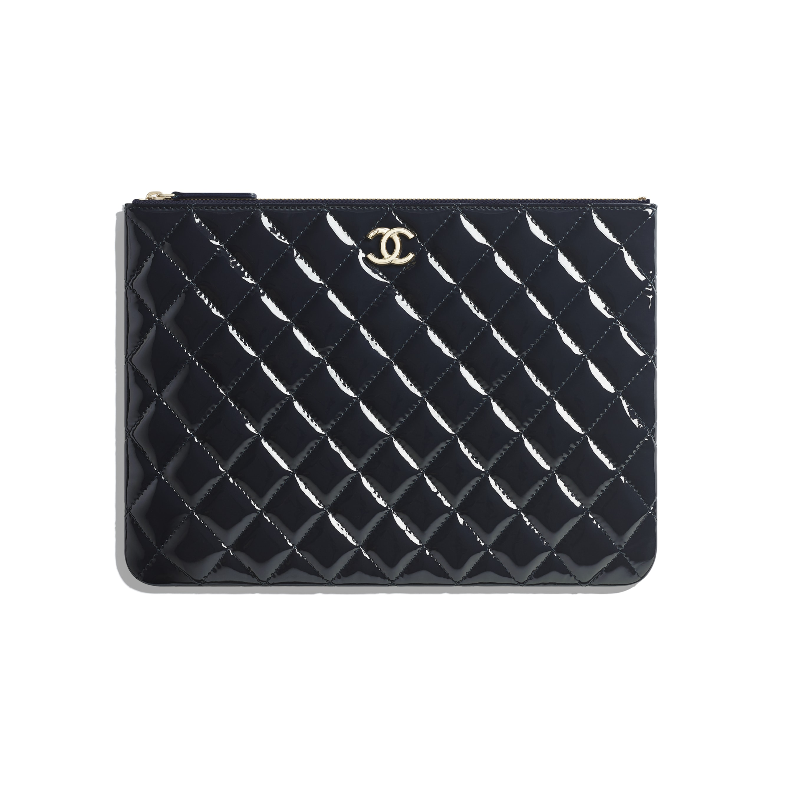 Pouch - Navy Blue - Patent Calfskin, Lambskin & Gold-Tone Metal - CHANEL - Default view - see standard sized version