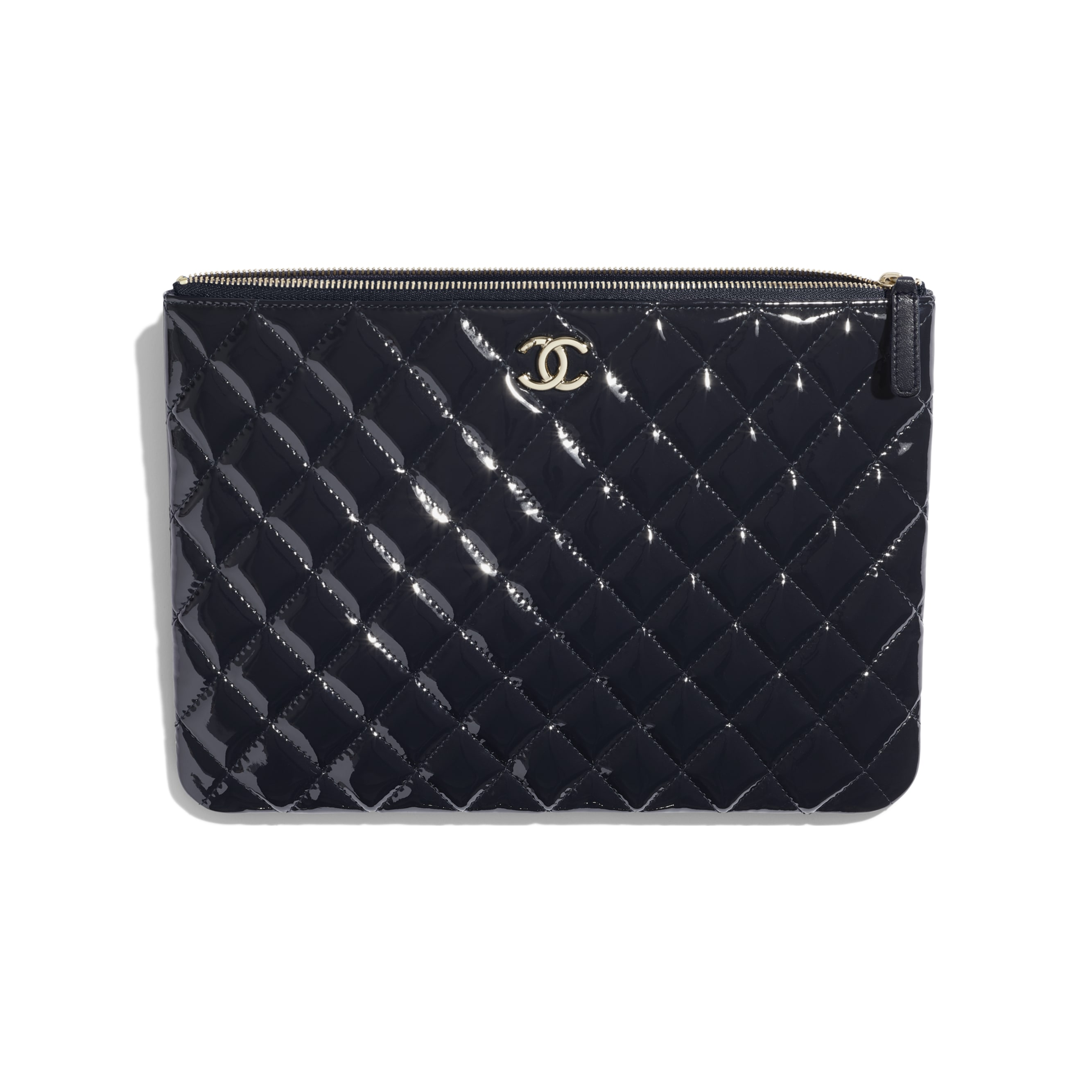 Pouch - Navy Blue - Patent Calfskin, Lambskin & Gold-Tone Metal - CHANEL - Other view - see standard sized version