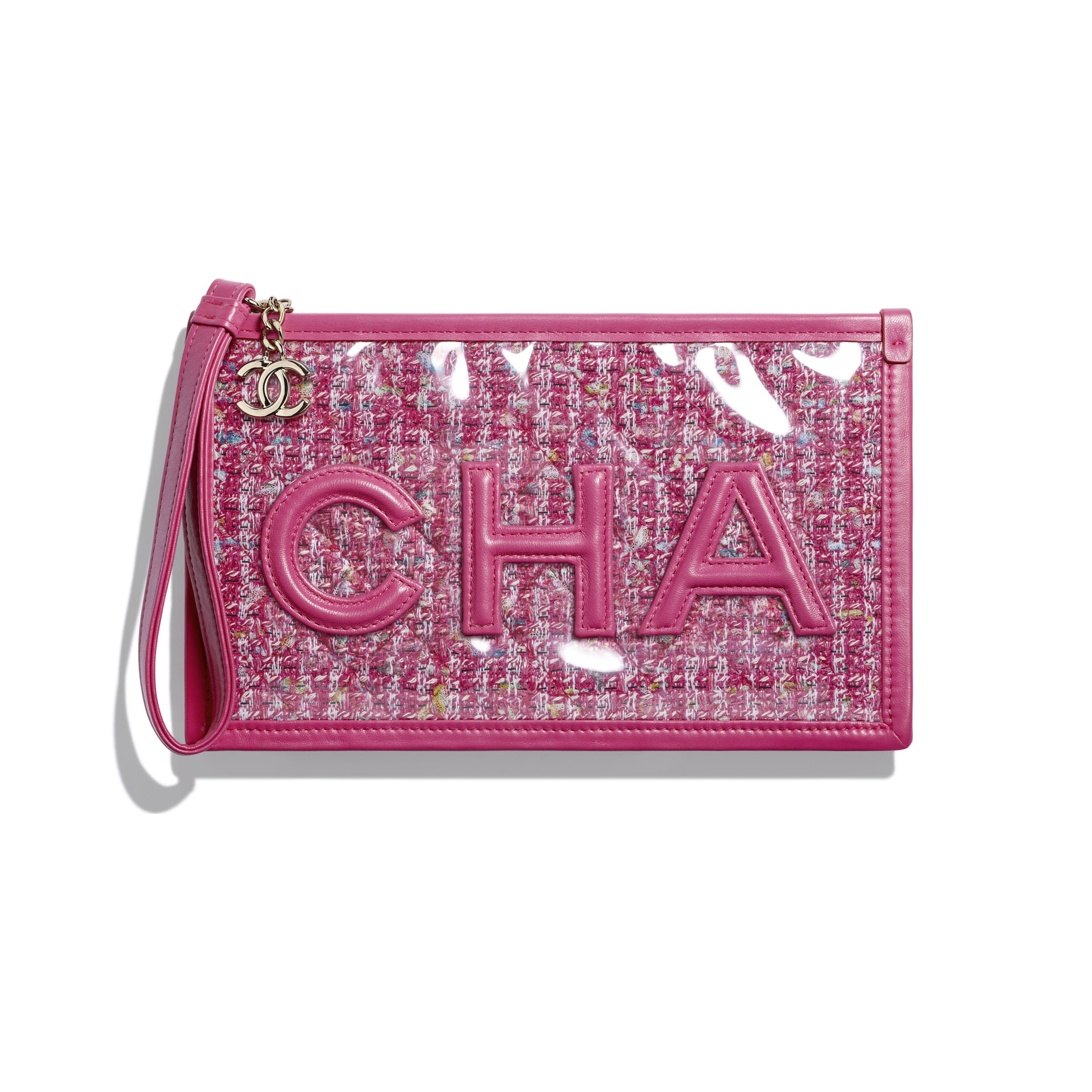 Pouch - Pink, Blue, White & Ochre - Tweed, PVC, Lambskin & Gold-Tone Metal - Default view - see standard sized version