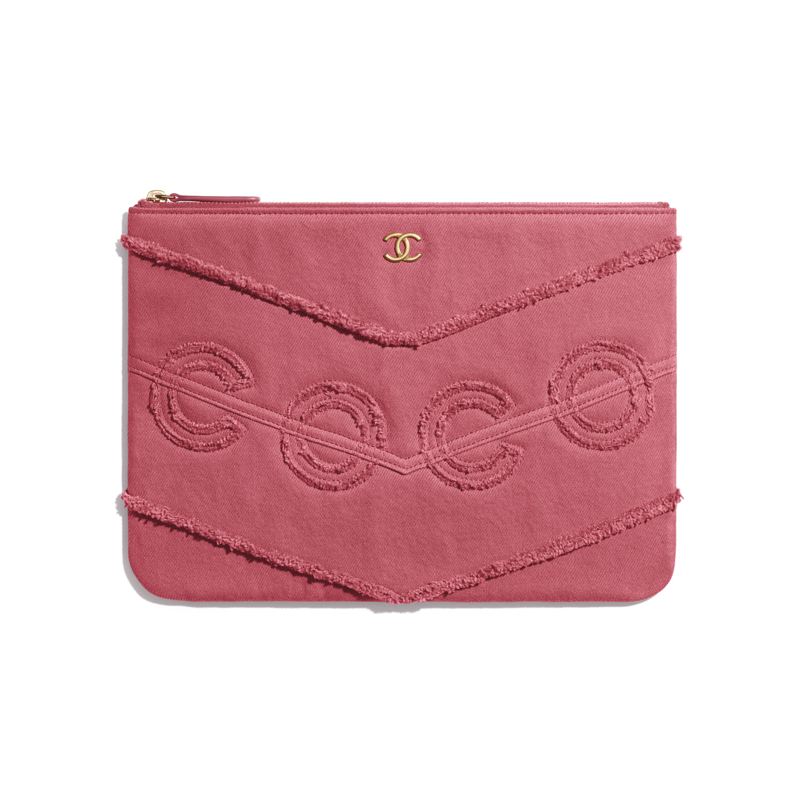 Pouch - Pink - Denim & Gold Metal - CHANEL - Default view - see standard sized version