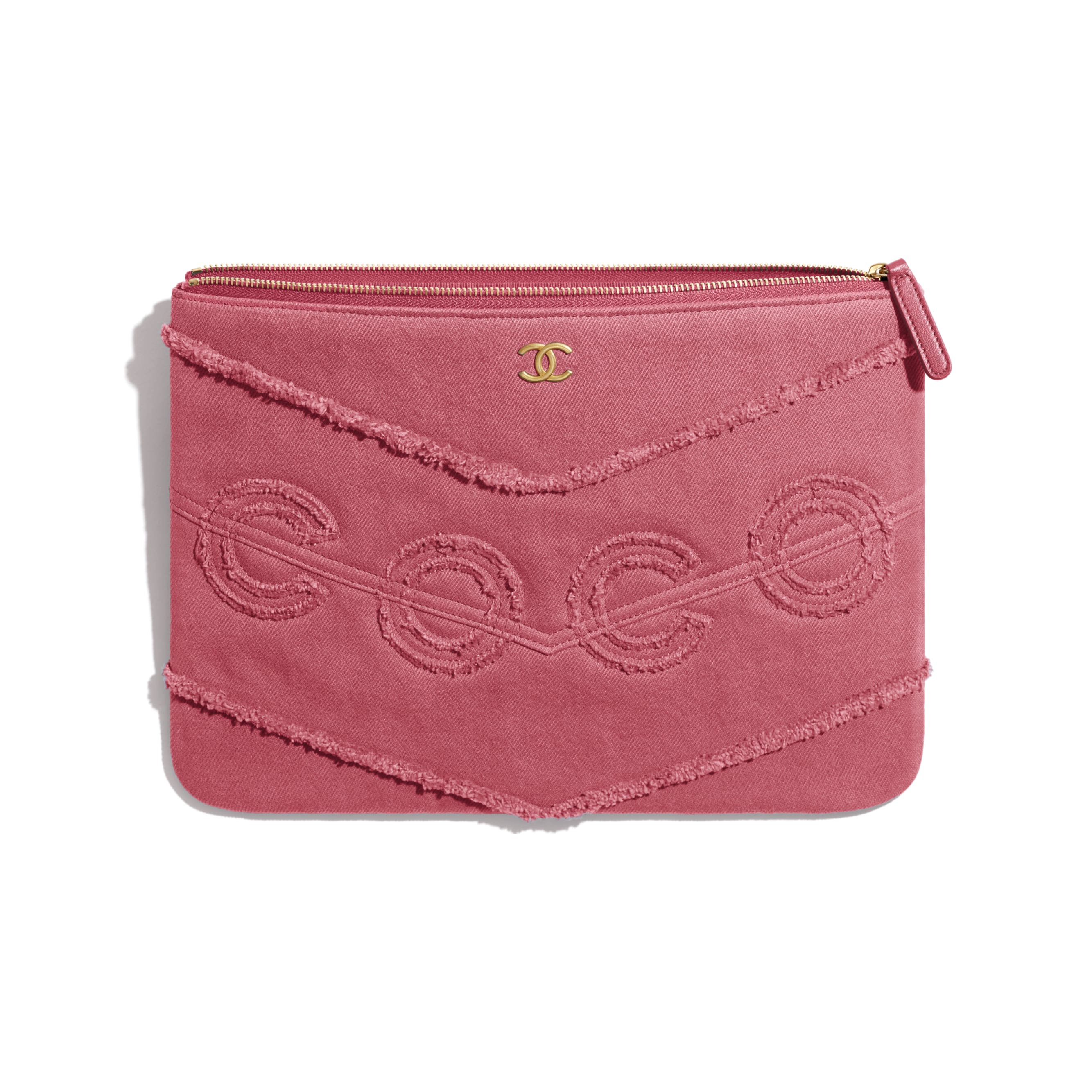 Pouch - Pink - Denim & Gold Metal - CHANEL - Other view - see standard sized version