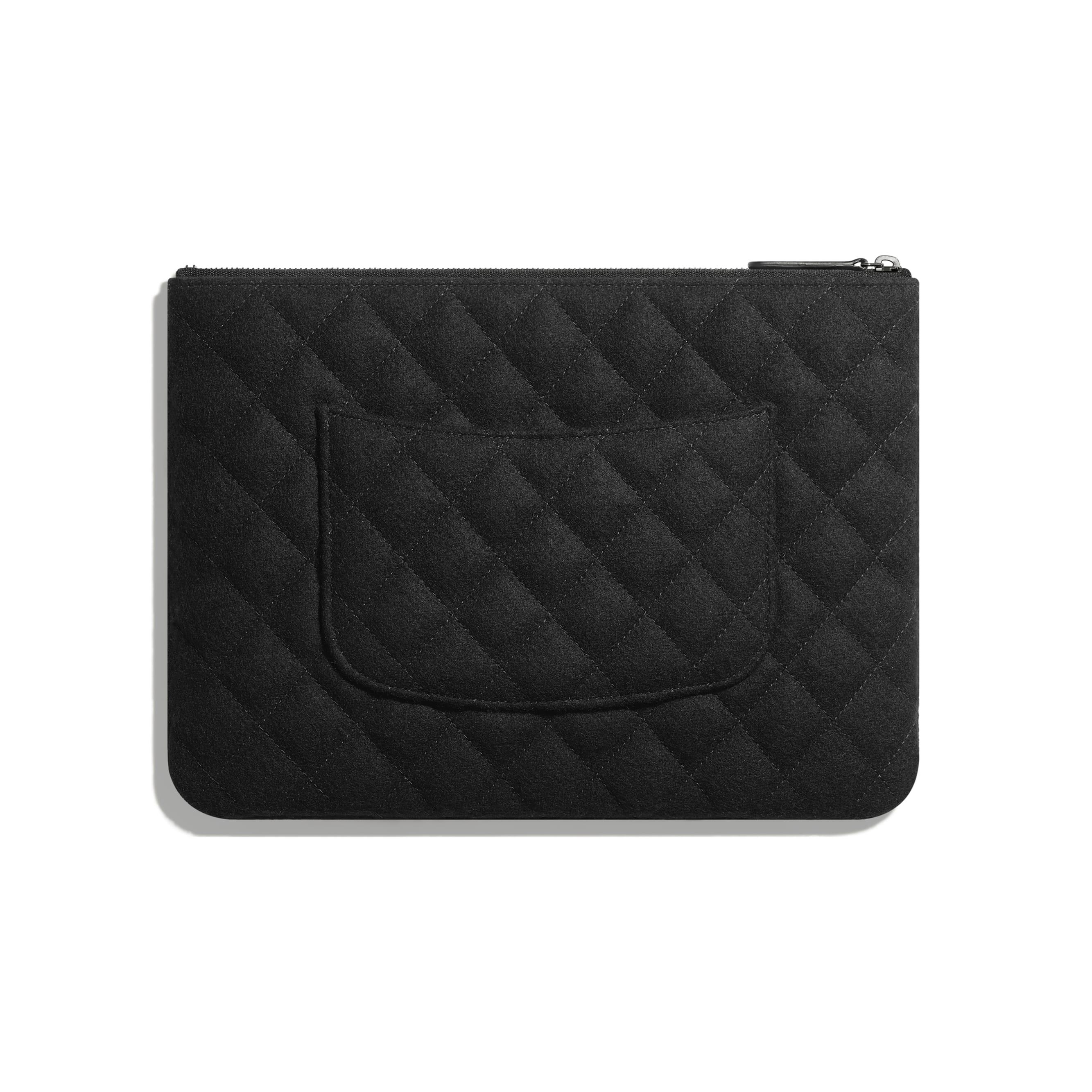 กระเป๋าเพาช์ - สีเงินและสีดำ - เลื่อม ใยขนแกะ และโลหะเคลือบรูทีเนียม - มุมมองทางอื่น - ดูเวอร์ชันขนาดมาตรฐาน