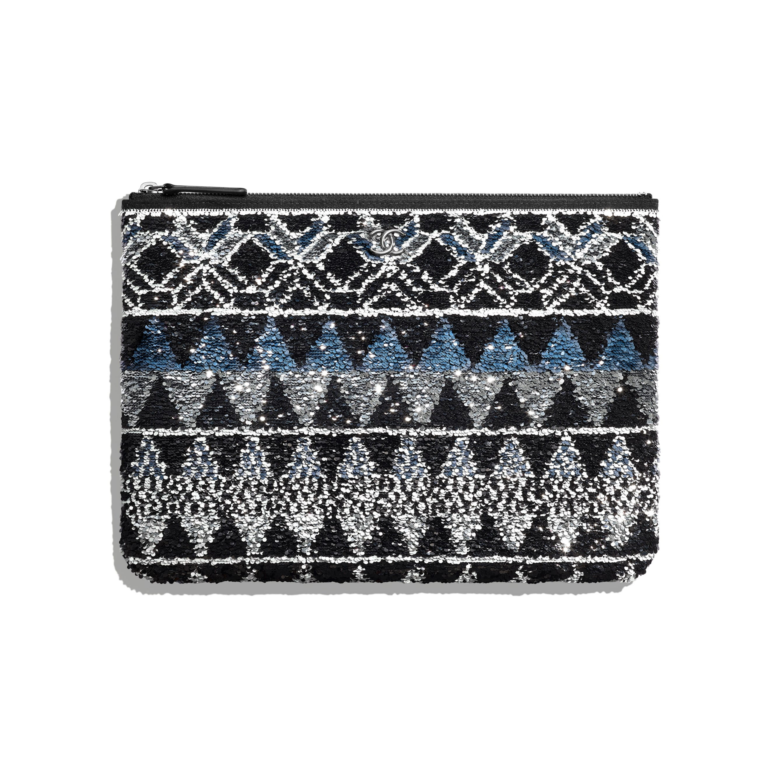 Pouch - Silver & Black - Sequins, Wool Felt & Ruthenium-Finish Metal - Default view - see standard sized version