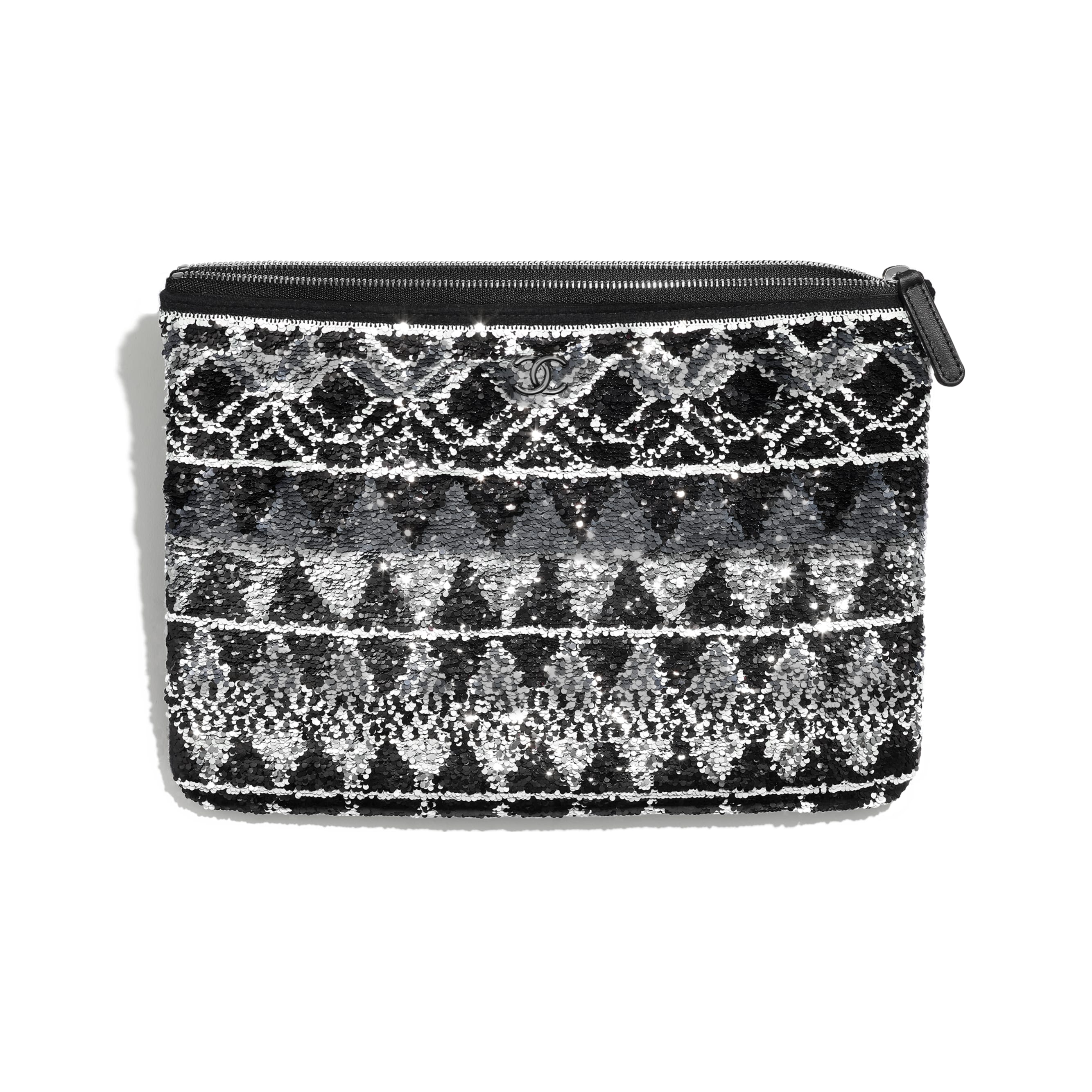 Pouch - Silver & Black - Sequins, Wool Felt & Ruthenium-Finish Metal - Other view - see standard sized version