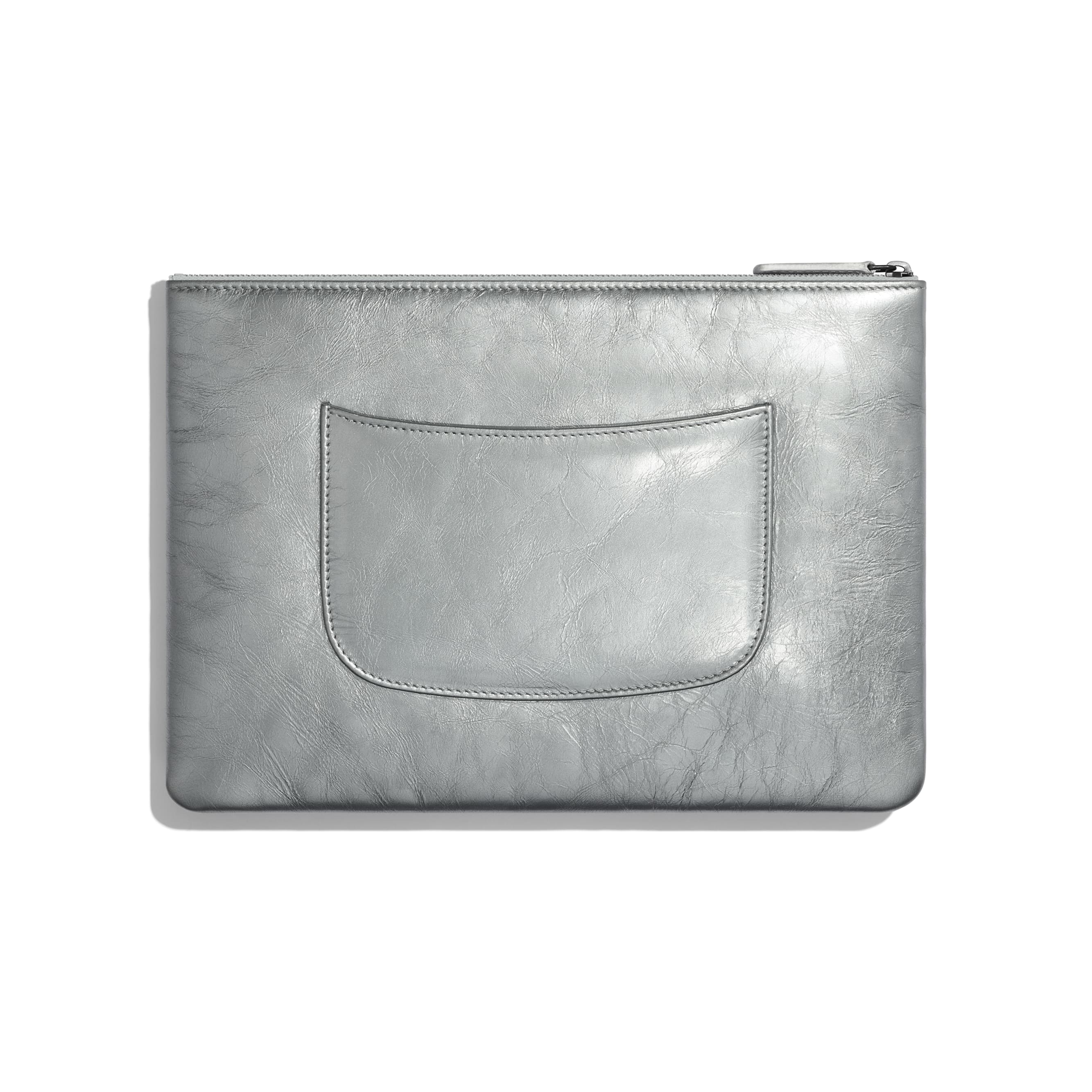 Pouch - Silver - Metallic Crumpled Calfksin, Gold-Tone, Silver-Tone & Ruthenium-Finish Metal - Alternative view - see standard sized version