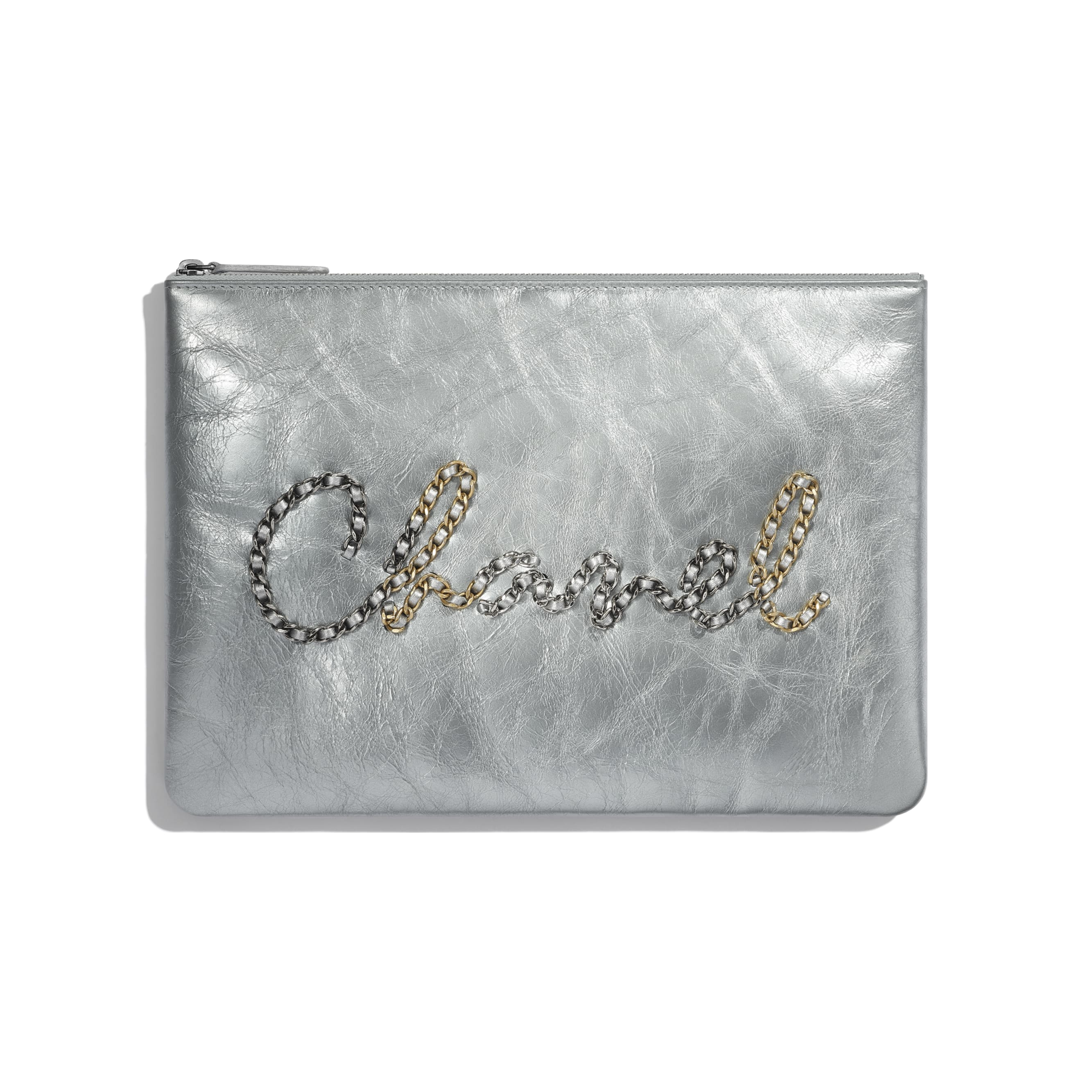 Pouch - Silver - Metallic Crumpled Calfskin, Gold-Tone, Silver-Tone & Ruthenium-Finish Metal - CHANEL - Default view - see standard sized version