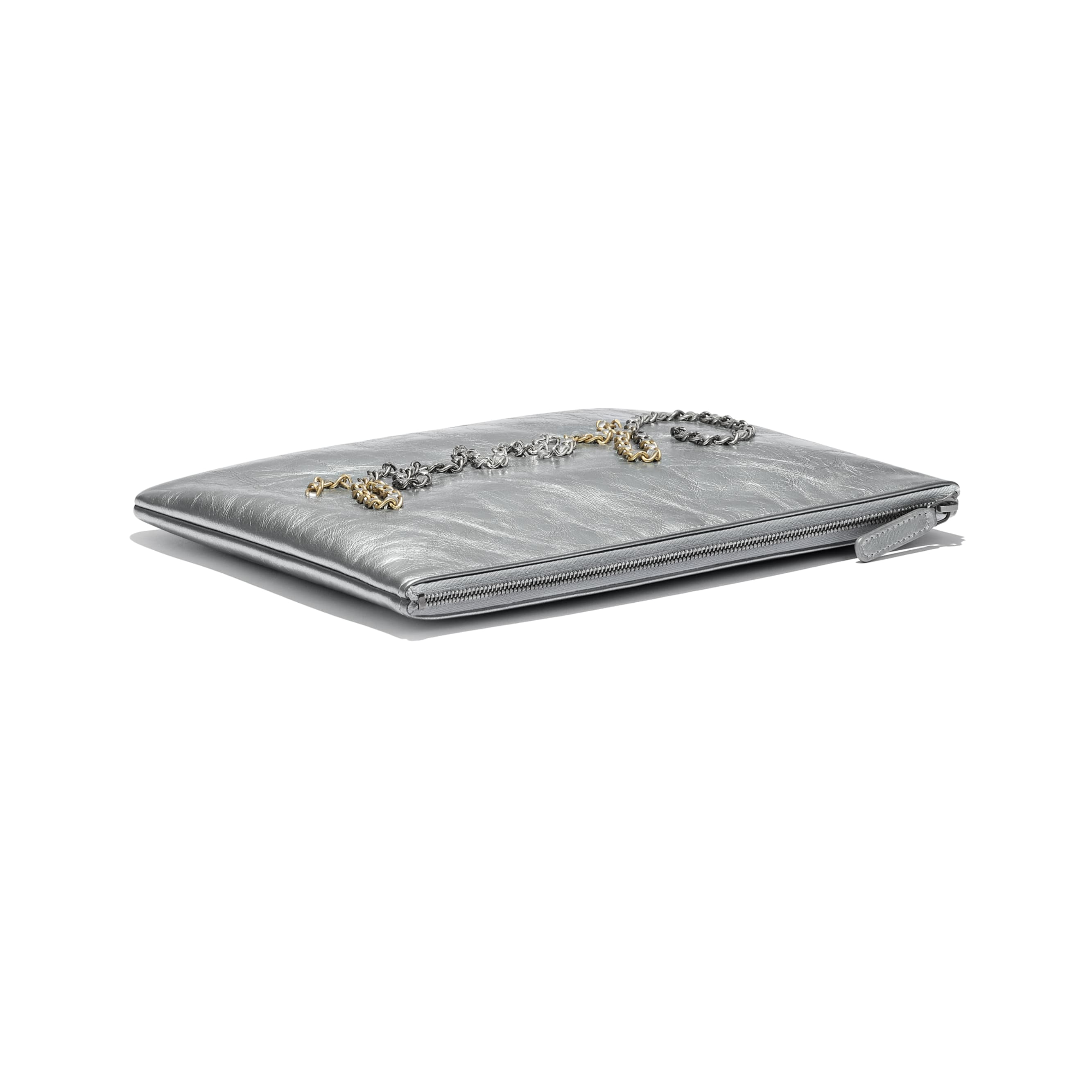 Pouch - Silver - Metallic Crumpled Calfskin, Gold-Tone, Silver-Tone & Ruthenium-Finish Metal - Extra view - see standard sized version