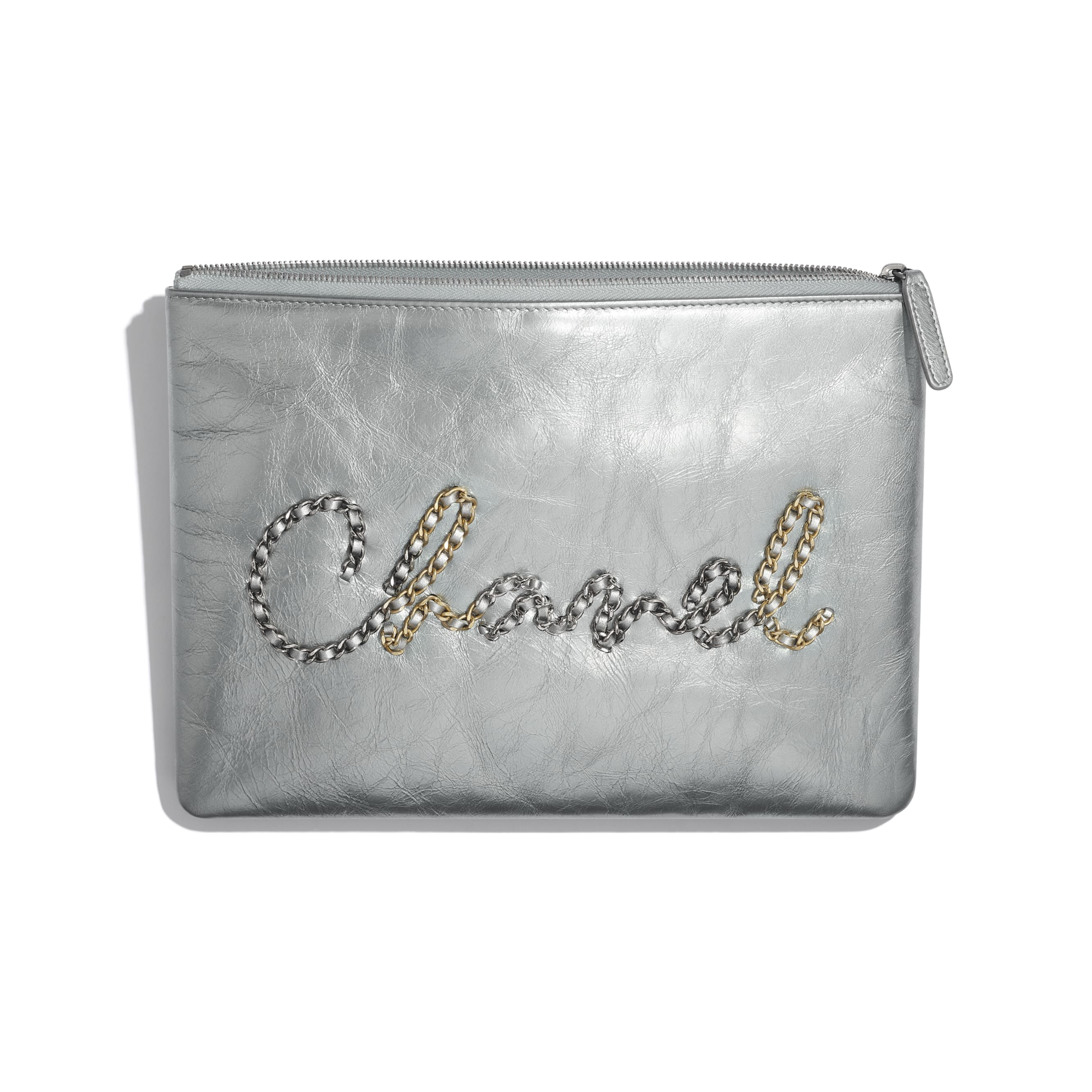 Pouch - Silver - Metallic Crumpled Calfskin, Gold-Tone, Silver-Tone & Ruthenium-Finish Metal - CHANEL - Other view - see standard sized version