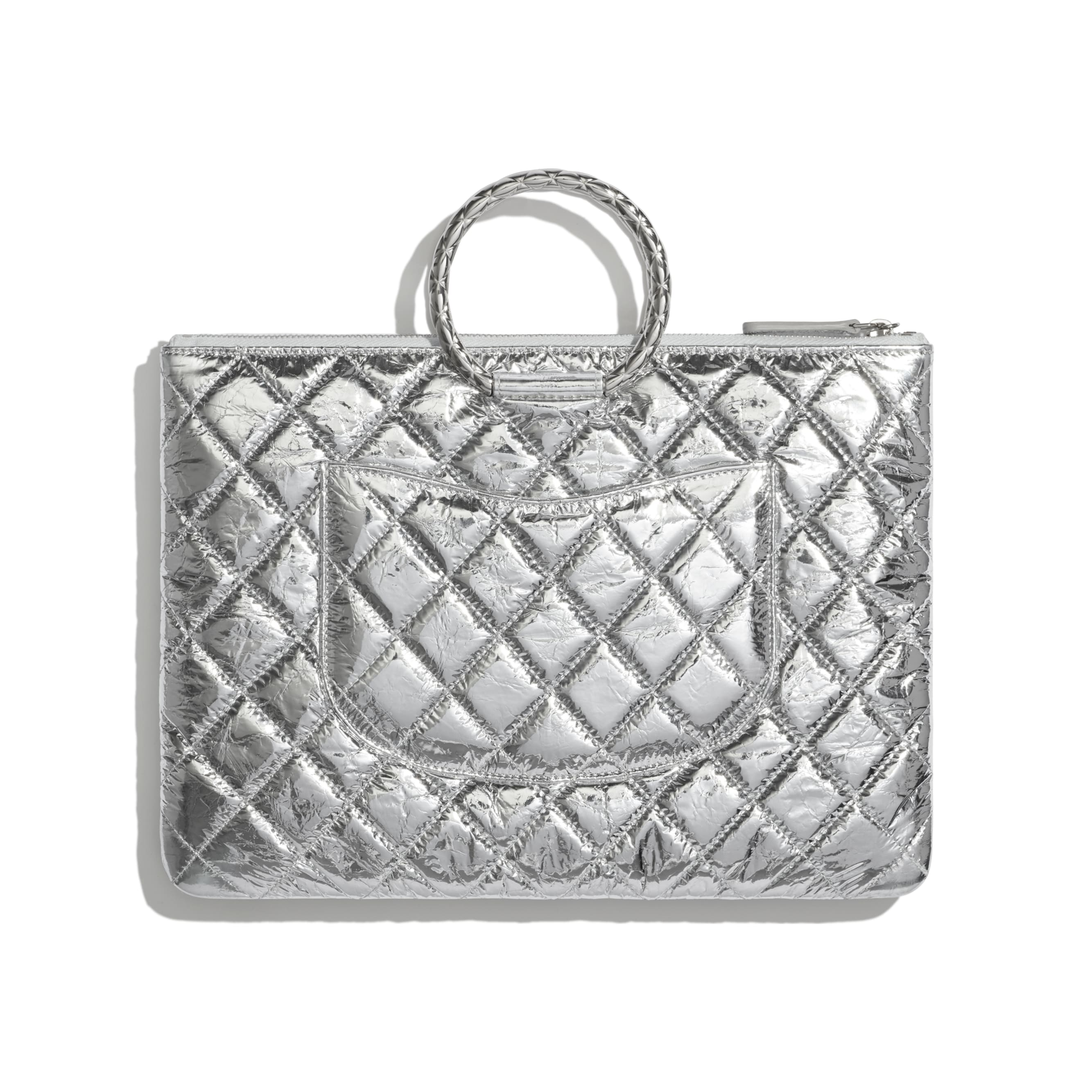 Pouch - Silver - Metallic Crumpled Goatskin & Silver-Tone Metal - CHANEL - Alternative view - see standard sized version