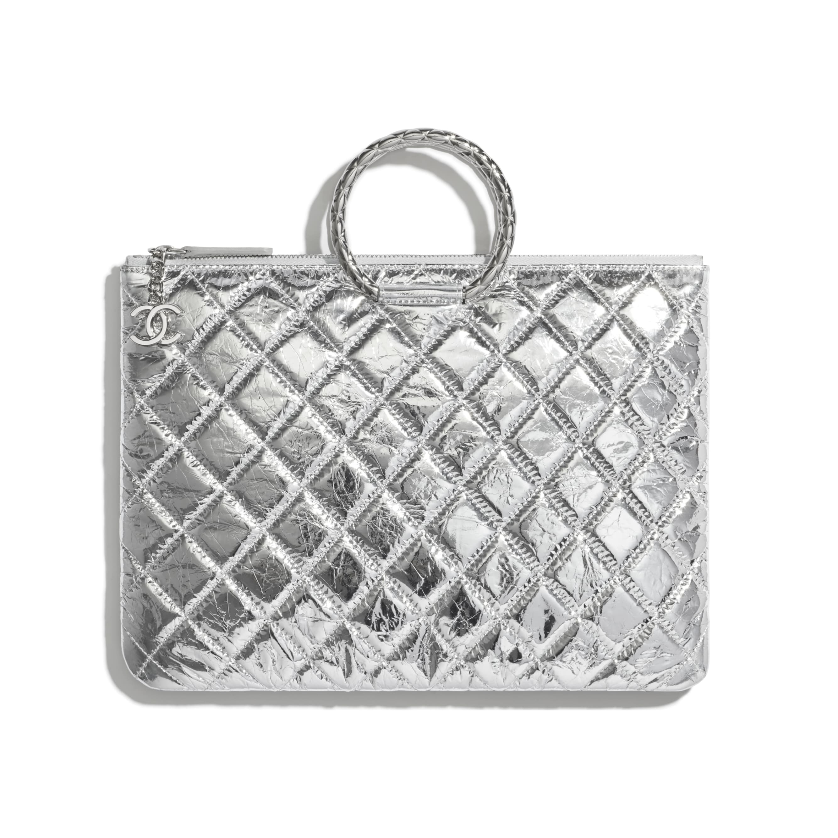 Pouch - Silver - Metallic Crumpled Goatskin & Silver-Tone Metal - CHANEL - Default view - see standard sized version