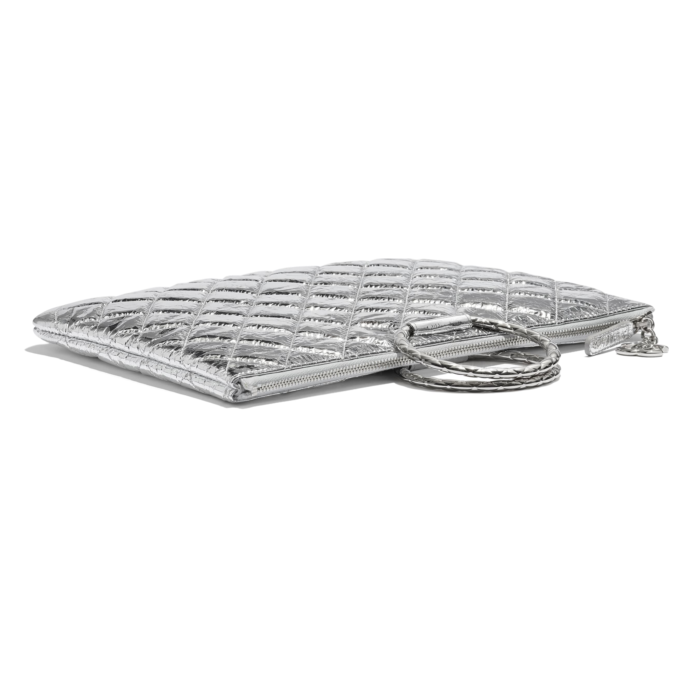 Pouch - Silver - Metallic Crumpled Goatskin & Silver-Tone Metal - CHANEL - Extra view - see standard sized version