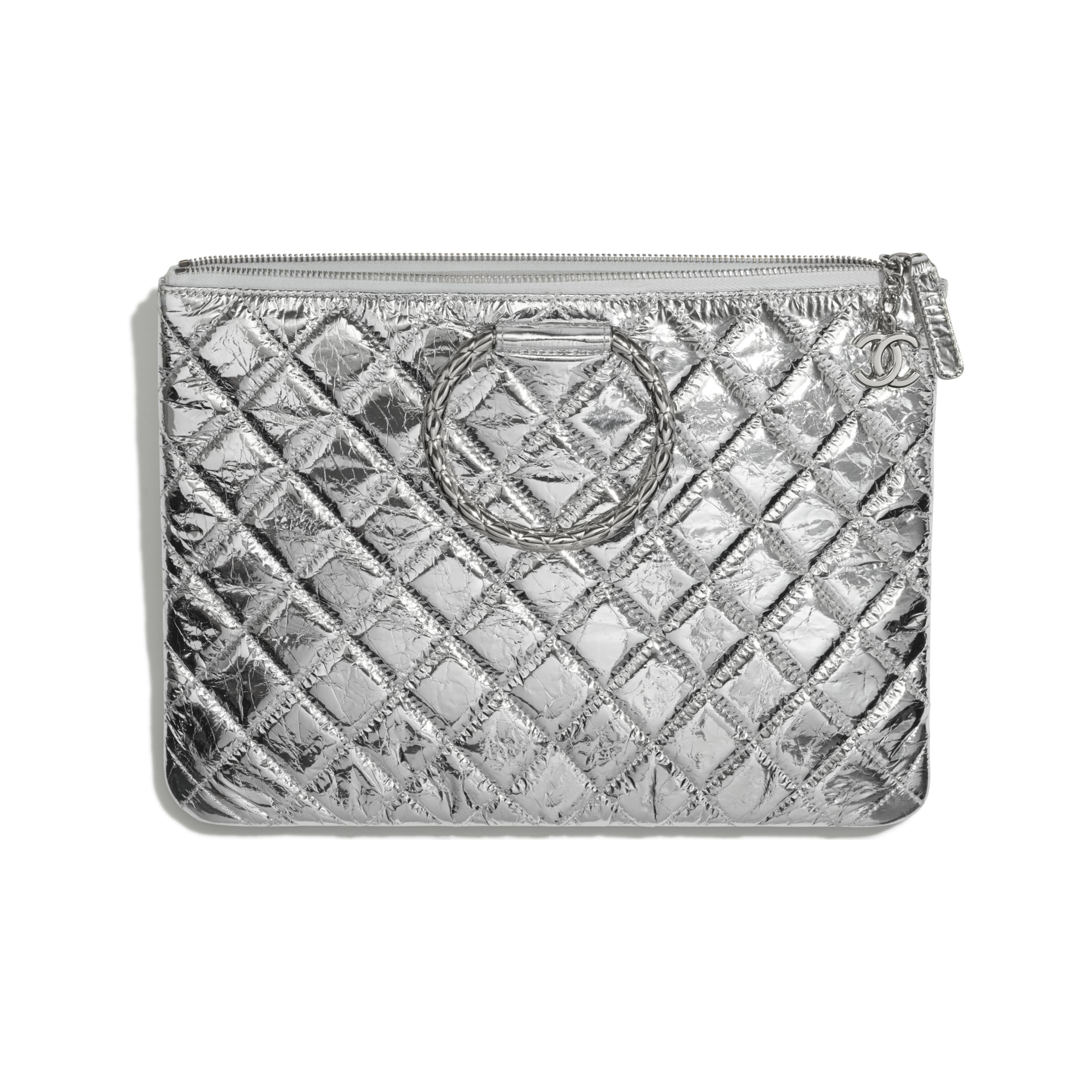 Pouch - Silver - Metallic Crumpled Goatskin & Silver-Tone Metal - CHANEL - Other view - see standard sized version