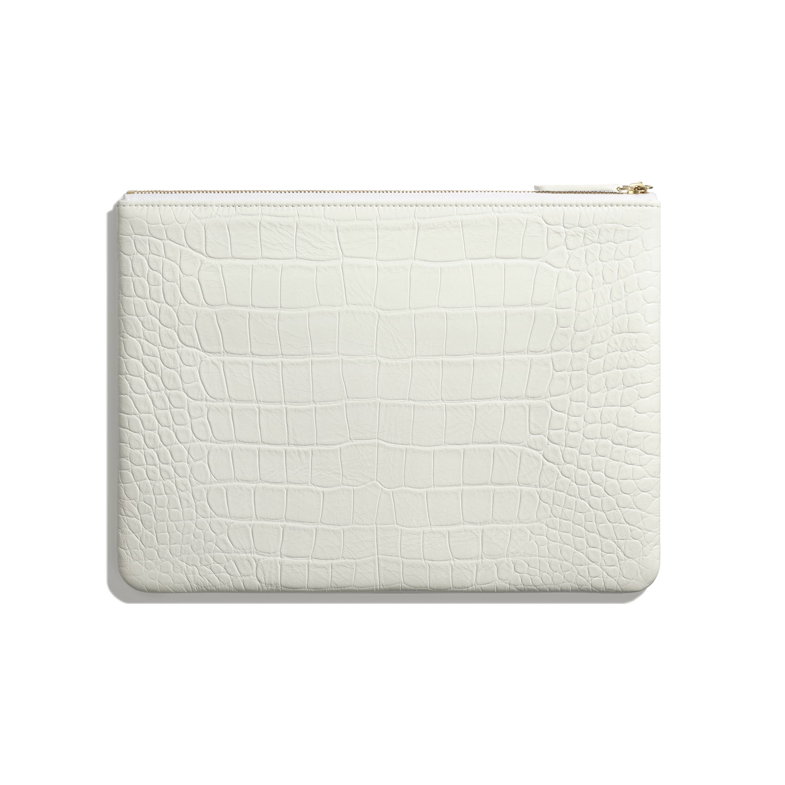 Pouch - White & Gold - Crocodile Embossed Calfskin & Gold-Tone Metal - Alternative view - see standard sized version