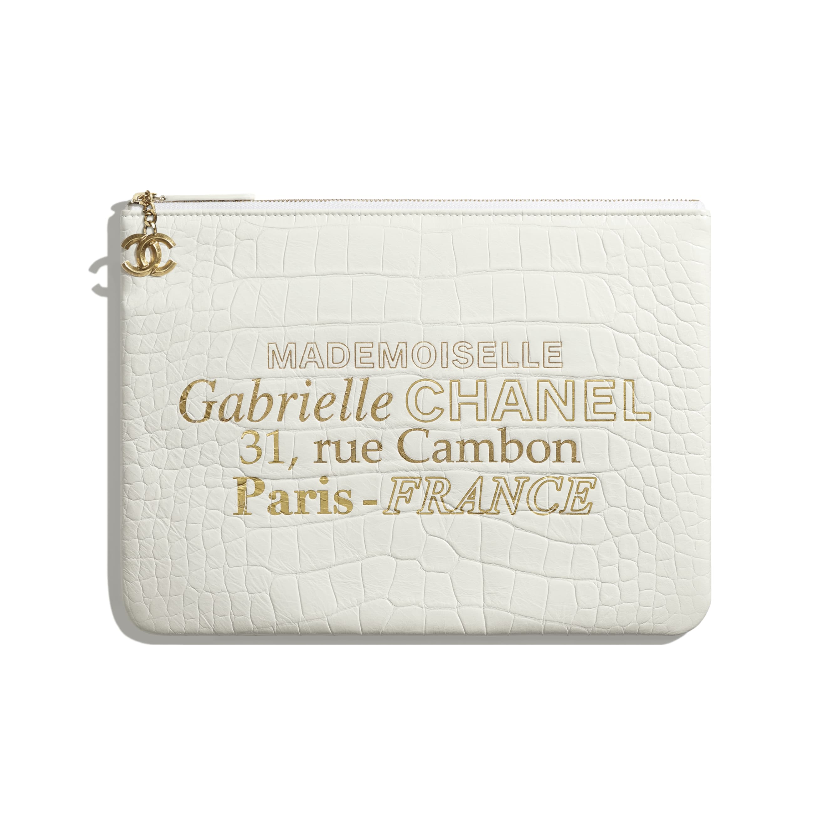 Pouch - White & Gold - Crocodile Embossed Calfskin & Gold-Tone Metal - Default view - see standard sized version