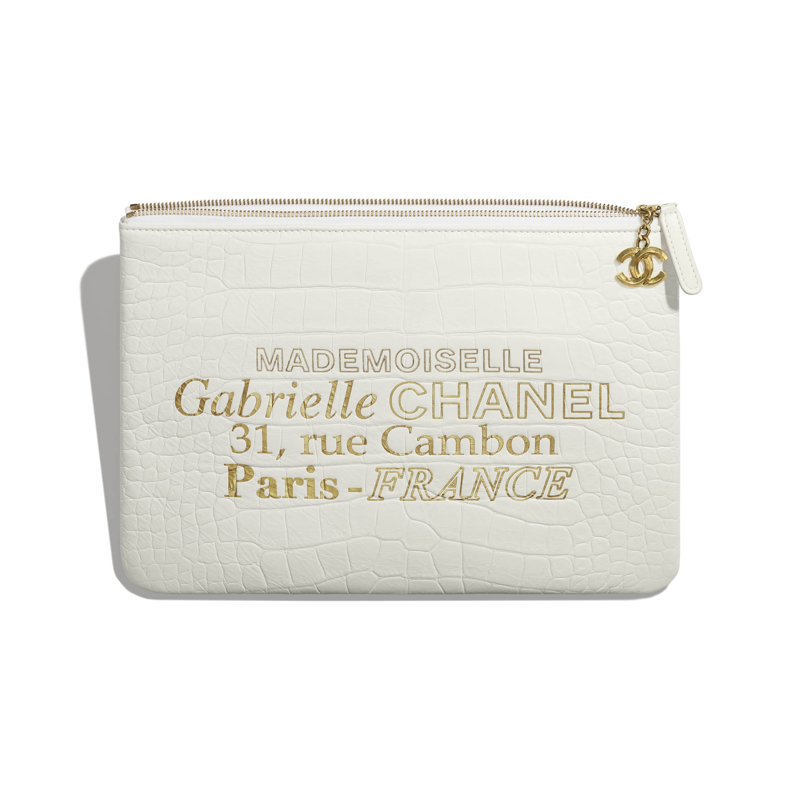 Pouch - White & Gold - Crocodile Embossed Calfskin & Gold-Tone Metal - Other view - see standard sized version