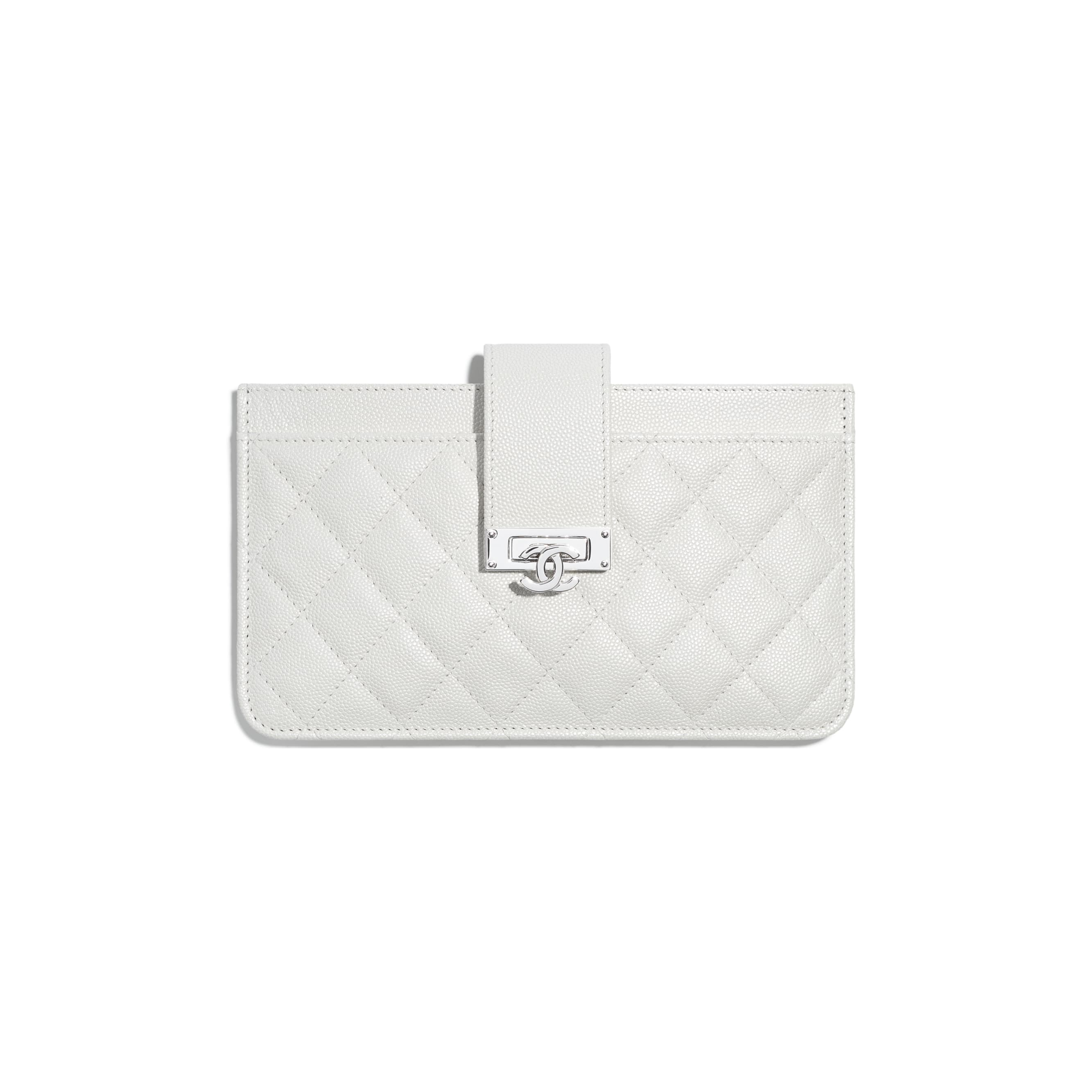 Pouch - White - Iridescent Grained Goatskin & Silver-Tone Metal - Default view - see standard sized version