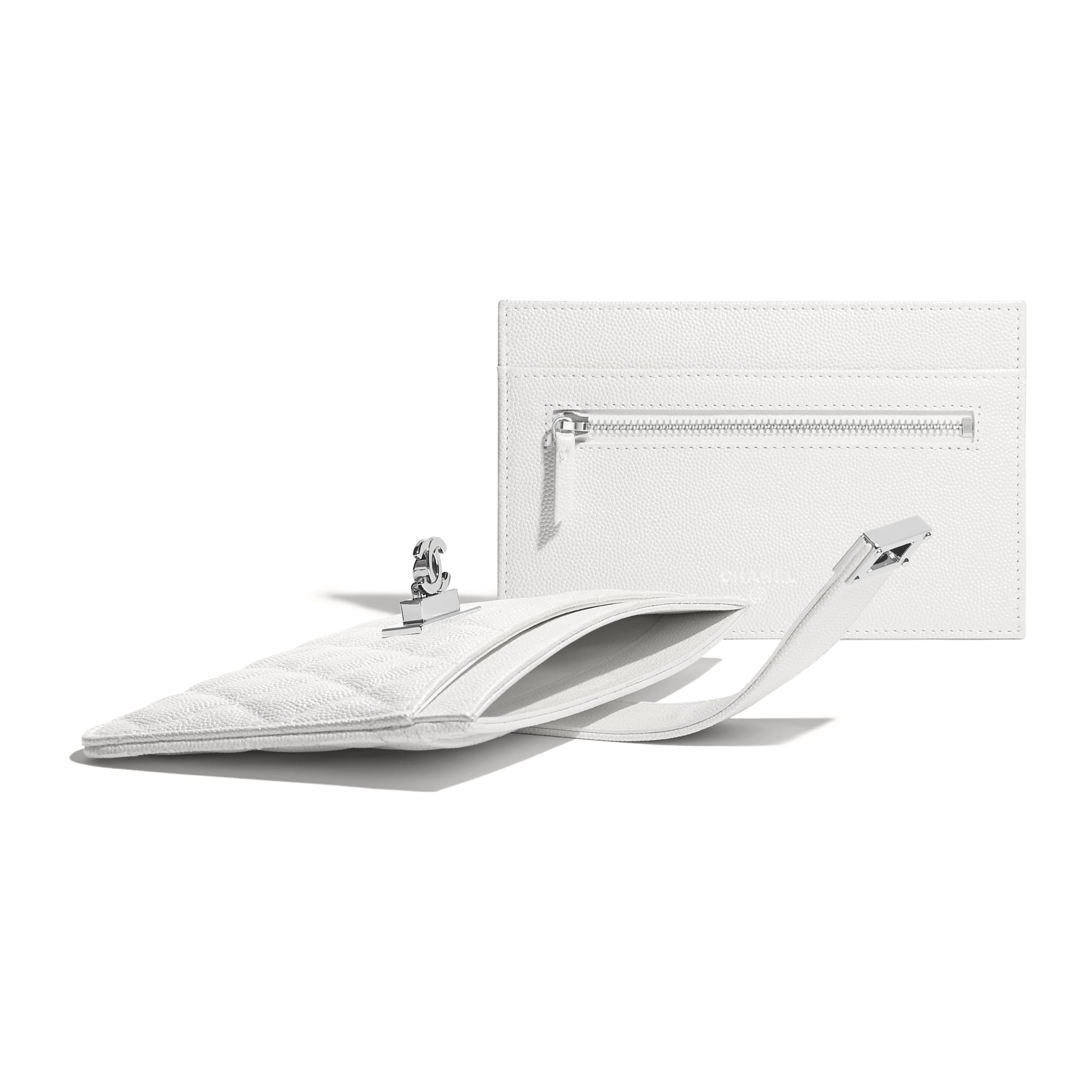 Pouch - White - Iridescent Grained Goatskin & Silver-Tone Metal - Extra view - see standard sized version