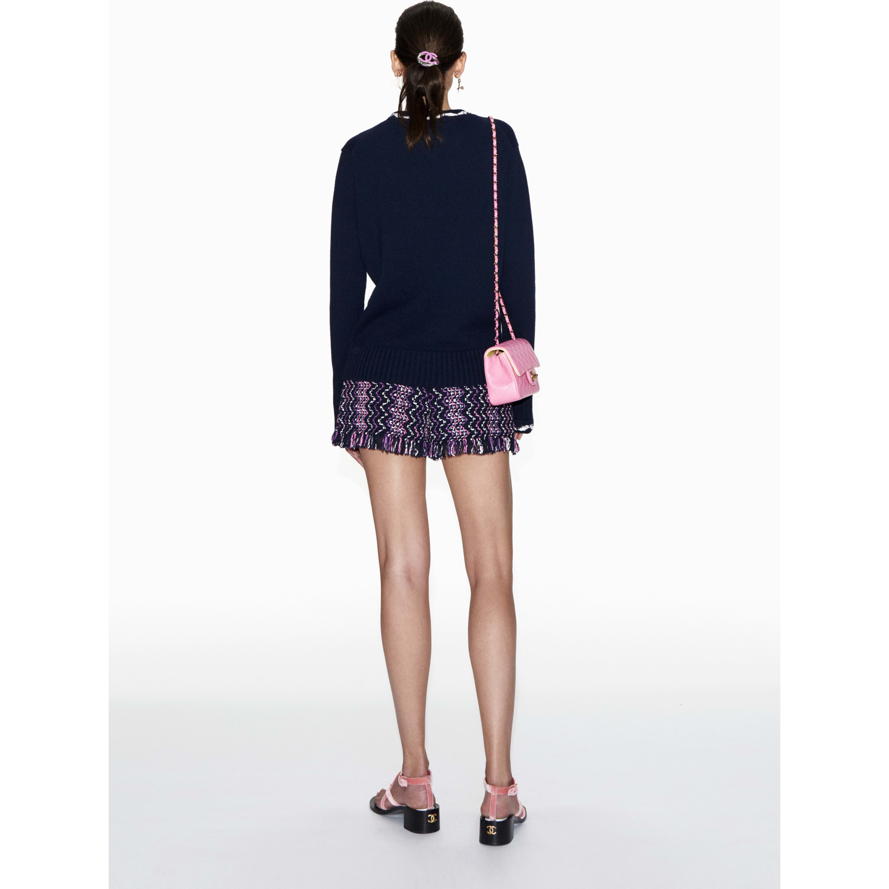 Sweater - Navy Blue & White - Cashmere - CHANEL - Alternative view - see standard sized version