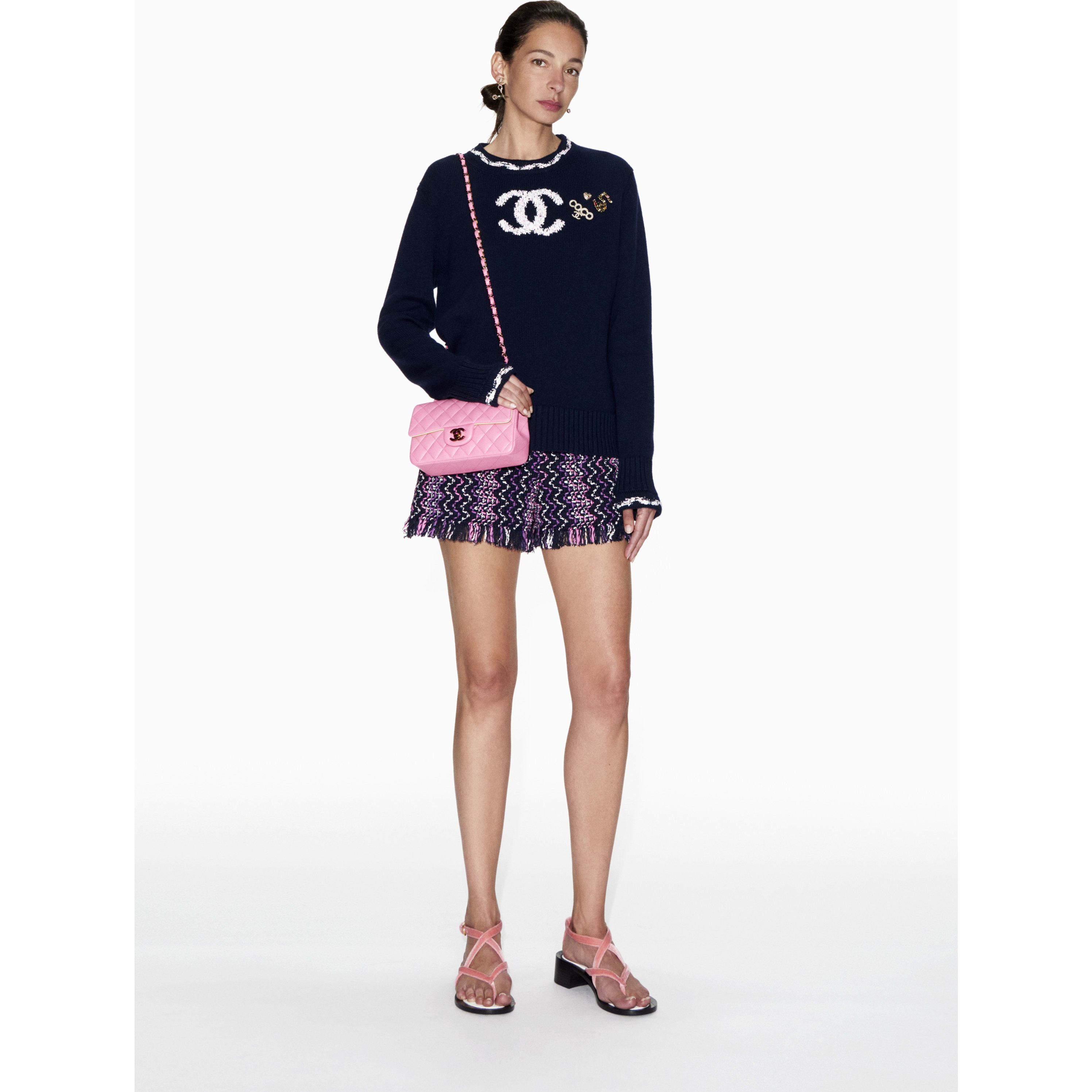 Sweater - Navy Blue & White - Cashmere - CHANEL - Default view - see standard sized version