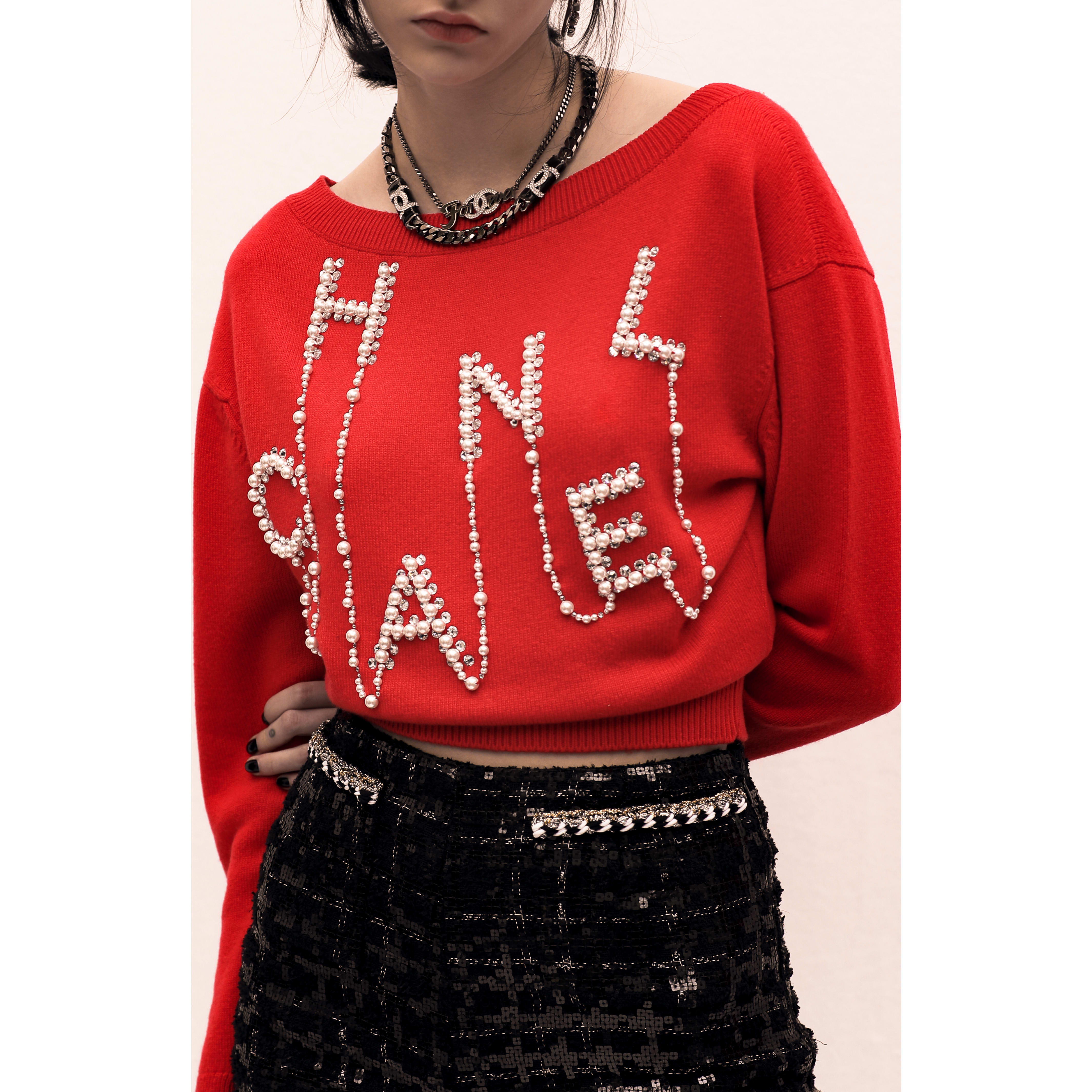 Sweater - Red - Embroidered Cashmere - CHANEL - Alternative view - see standard sized version