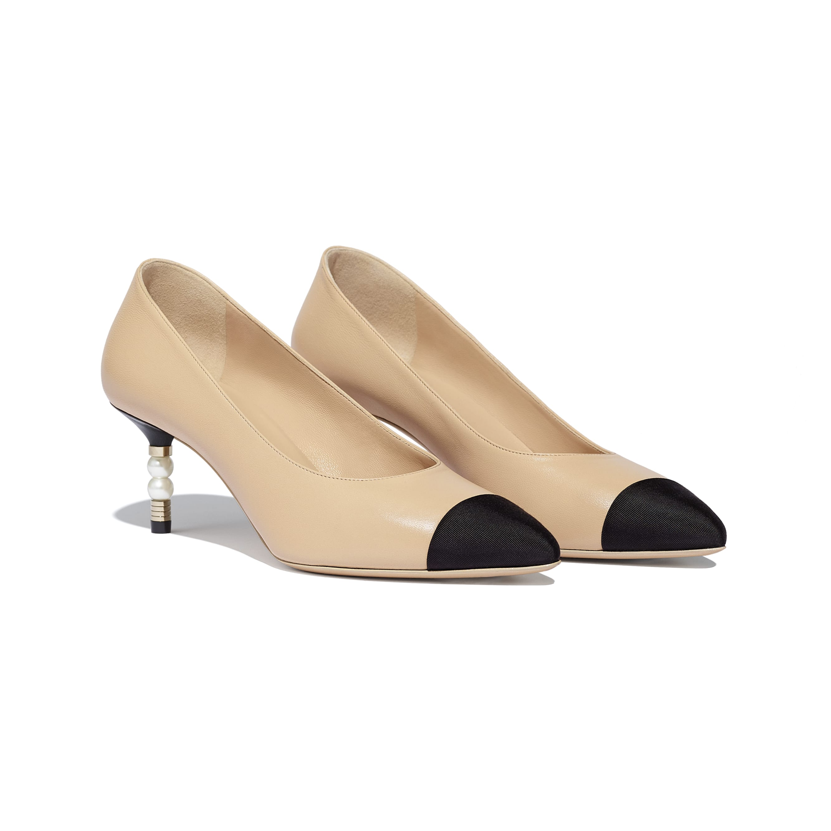 Pumps - Beige & Black - Lambskin & Grosgrain - Alternative view - see standard sized version