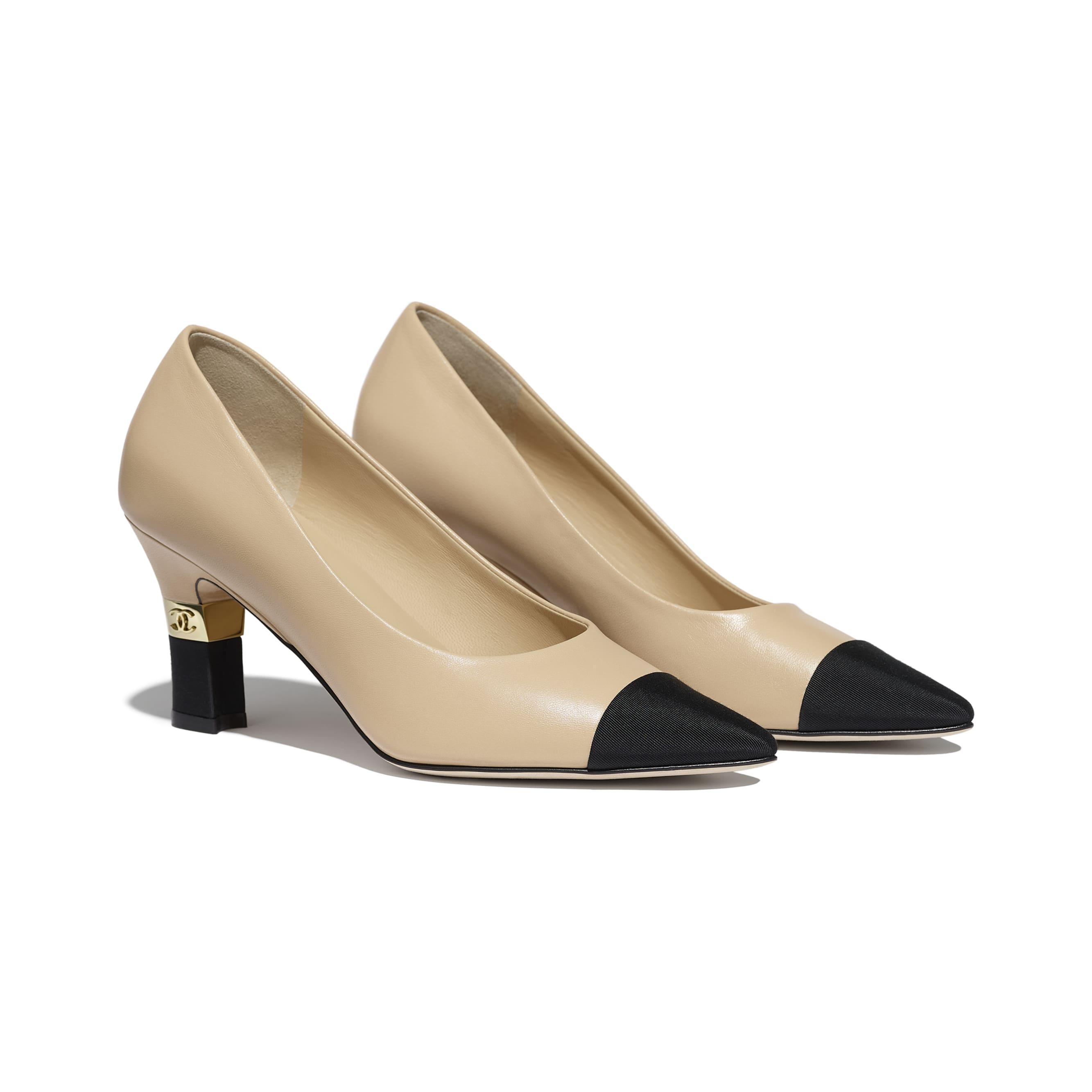 รองเท้าส้นสูงหุ้มส้น - สีเบจและสีดำ - หนังแกะและผ้าโกรเกรน - มุมมองทางอื่น - ดูเวอร์ชันขนาดมาตรฐาน