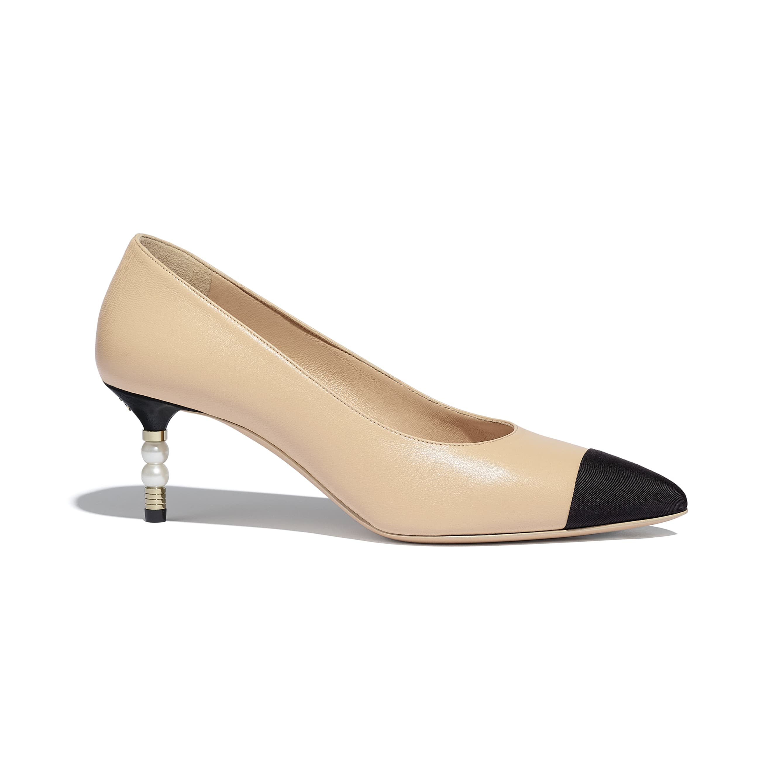 Pumps - Beige & Black - Lambskin & Grosgrain - Default view - see standard sized version