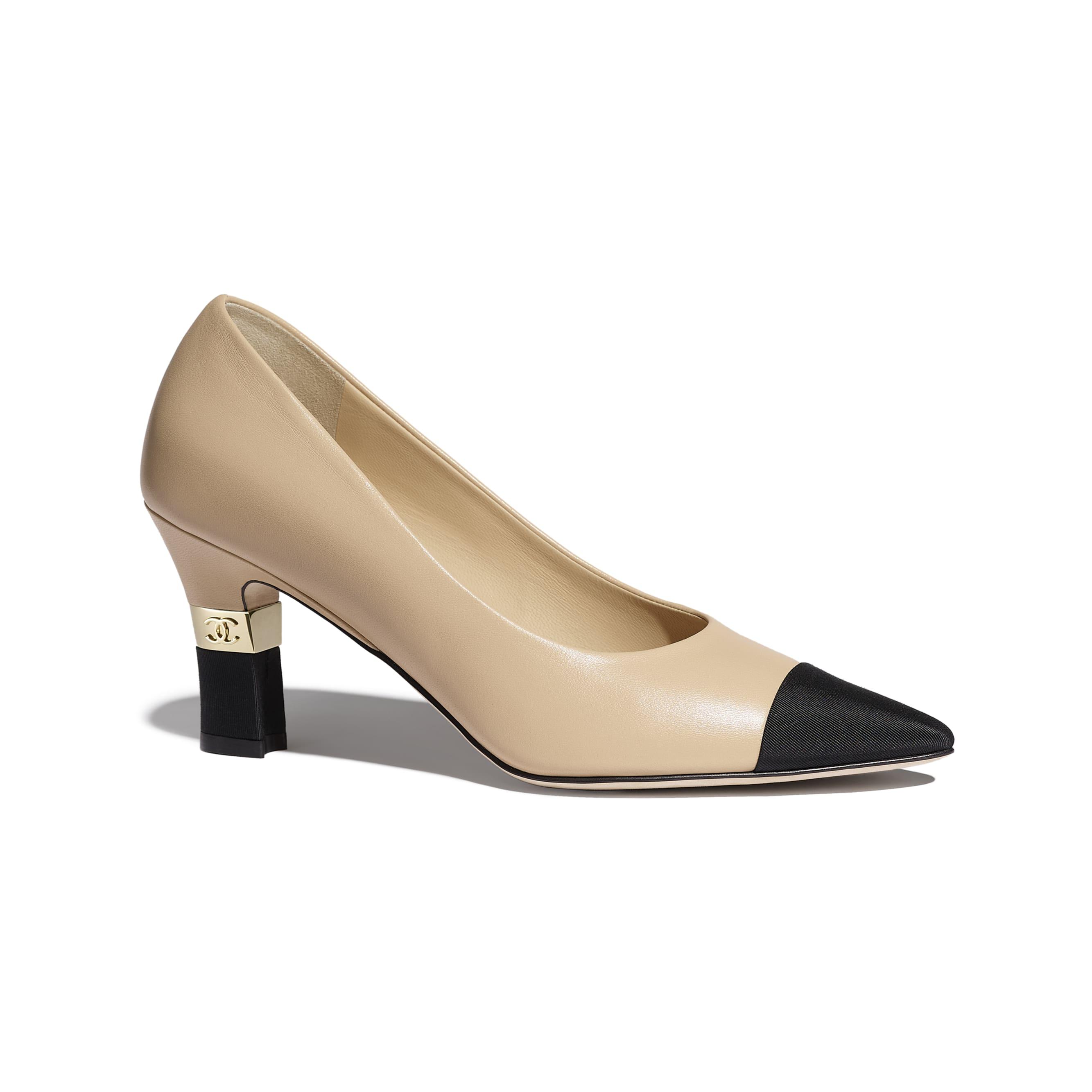 Туфли-лодочки - Бежевый и черный - Кожа ягненка и шелковая ткань - Вид по умолчанию - посмотреть изображение стандартного размера