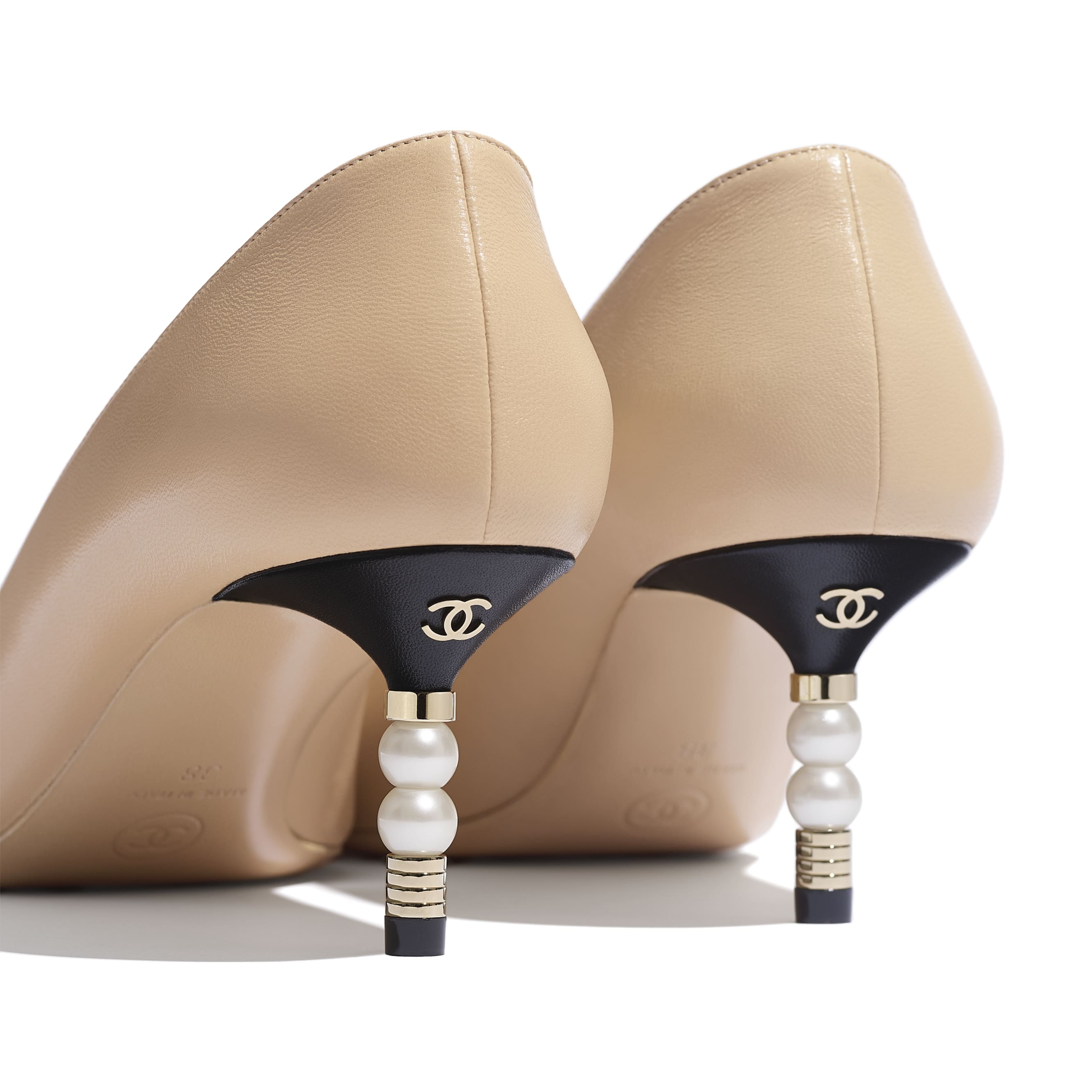 Pumps - Beige & Black - Lambskin & Grosgrain - Extra view - see standard sized version