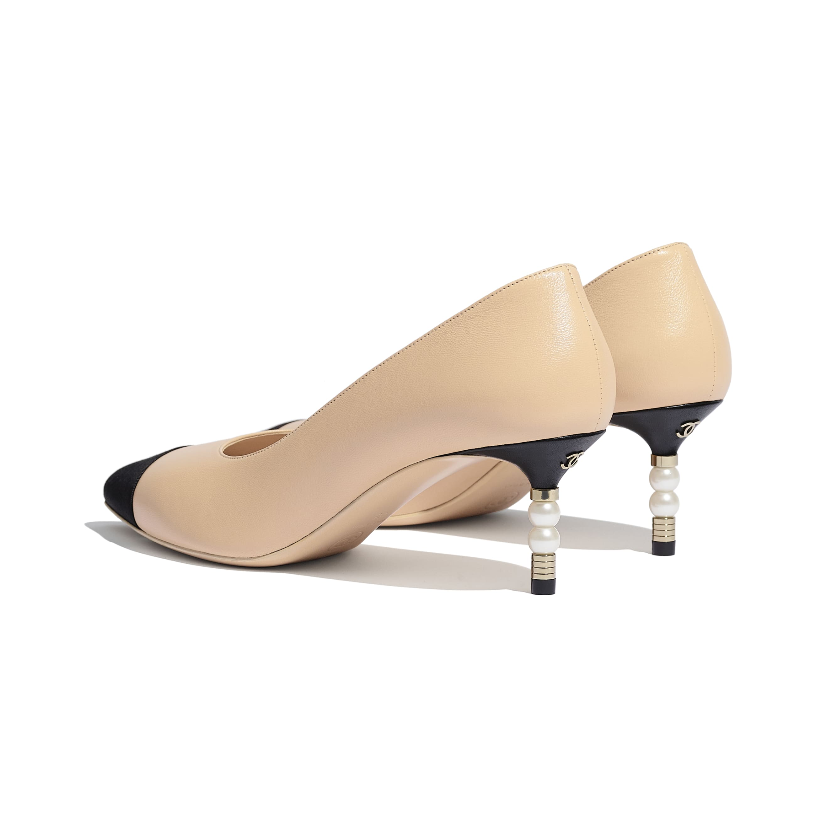 Pumps - Beige & Black - Lambskin & Grosgrain - Other view - see standard sized version