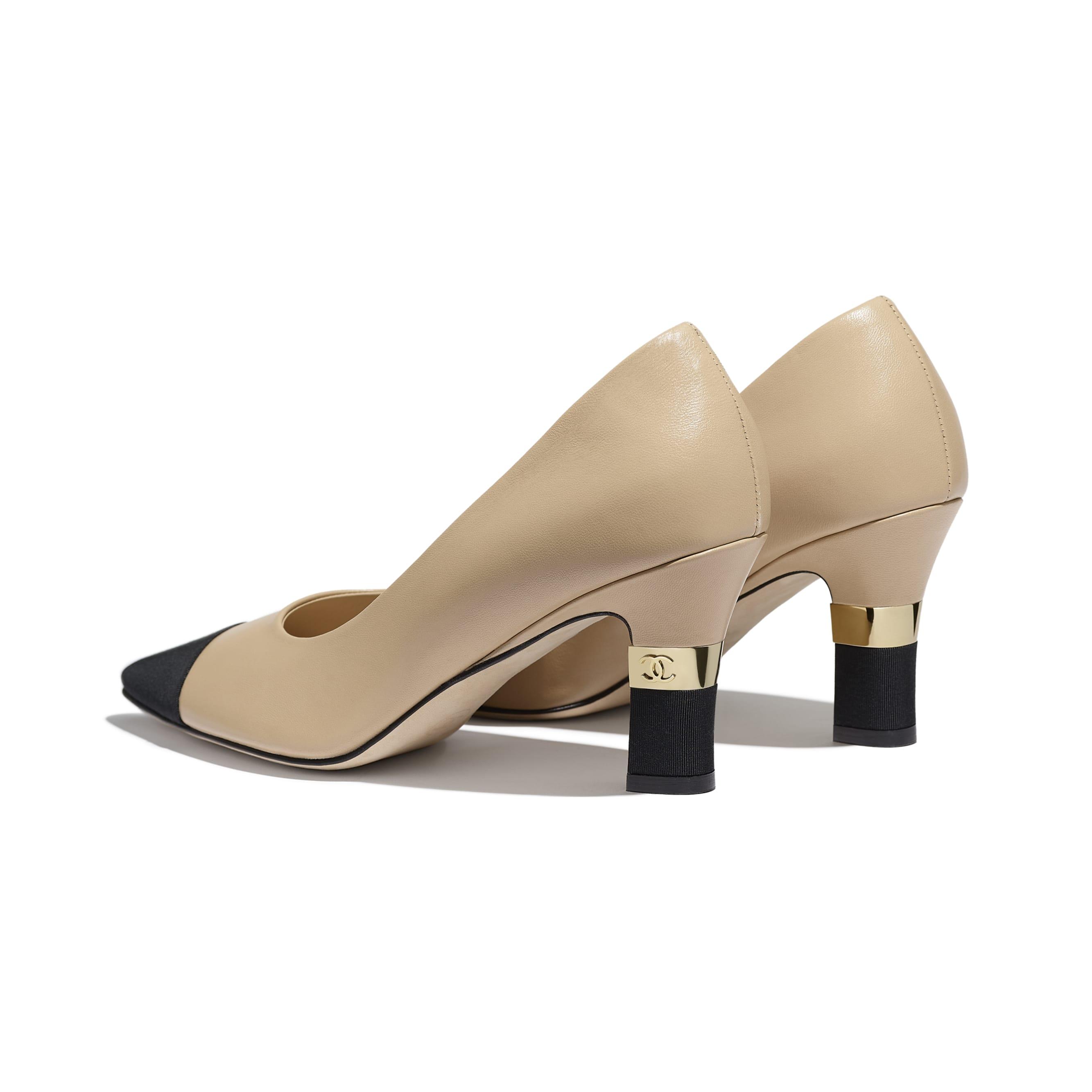รองเท้าส้นสูงหุ้มส้น - สีเบจและสีดำ - หนังแกะและผ้าโกรเกรน - มุมมองอื่น - ดูเวอร์ชันขนาดมาตรฐาน