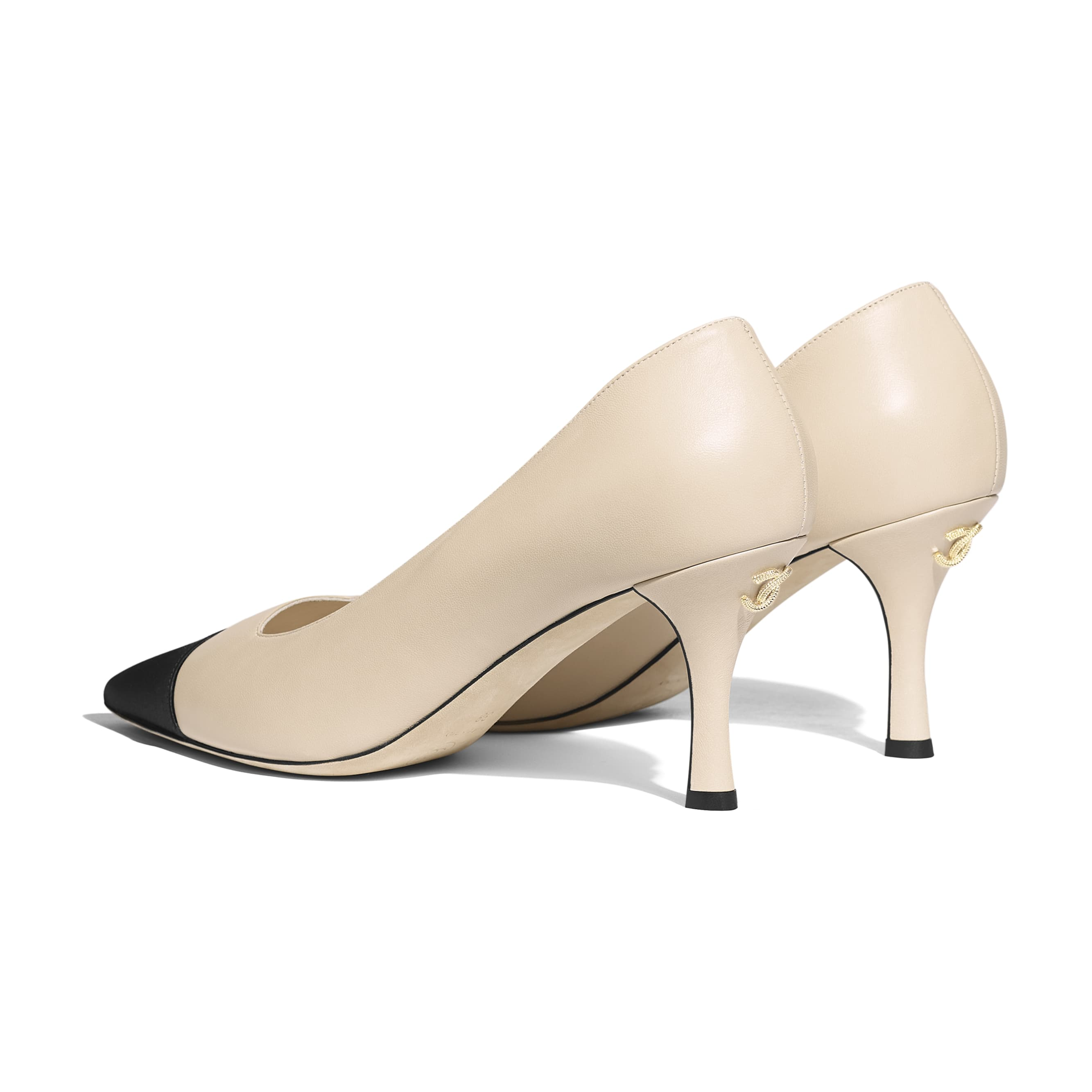 Pumps - Beige & Black - Lambskin & Satin - CHANEL - Other view - see standard sized version