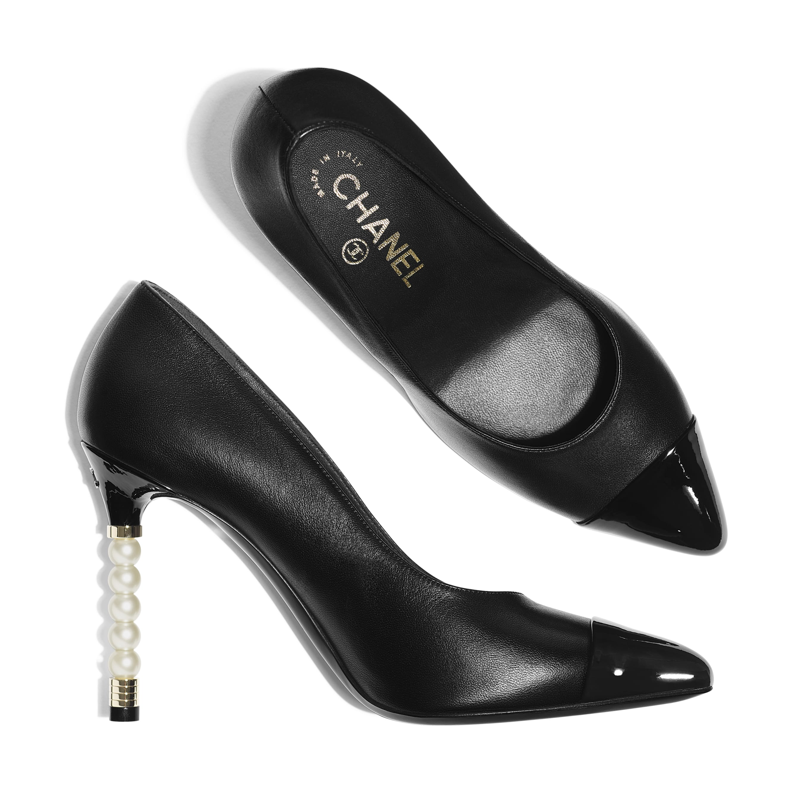 Pumps - Black - Lambskin & Patent Calfskin - Extra view - see standard sized version