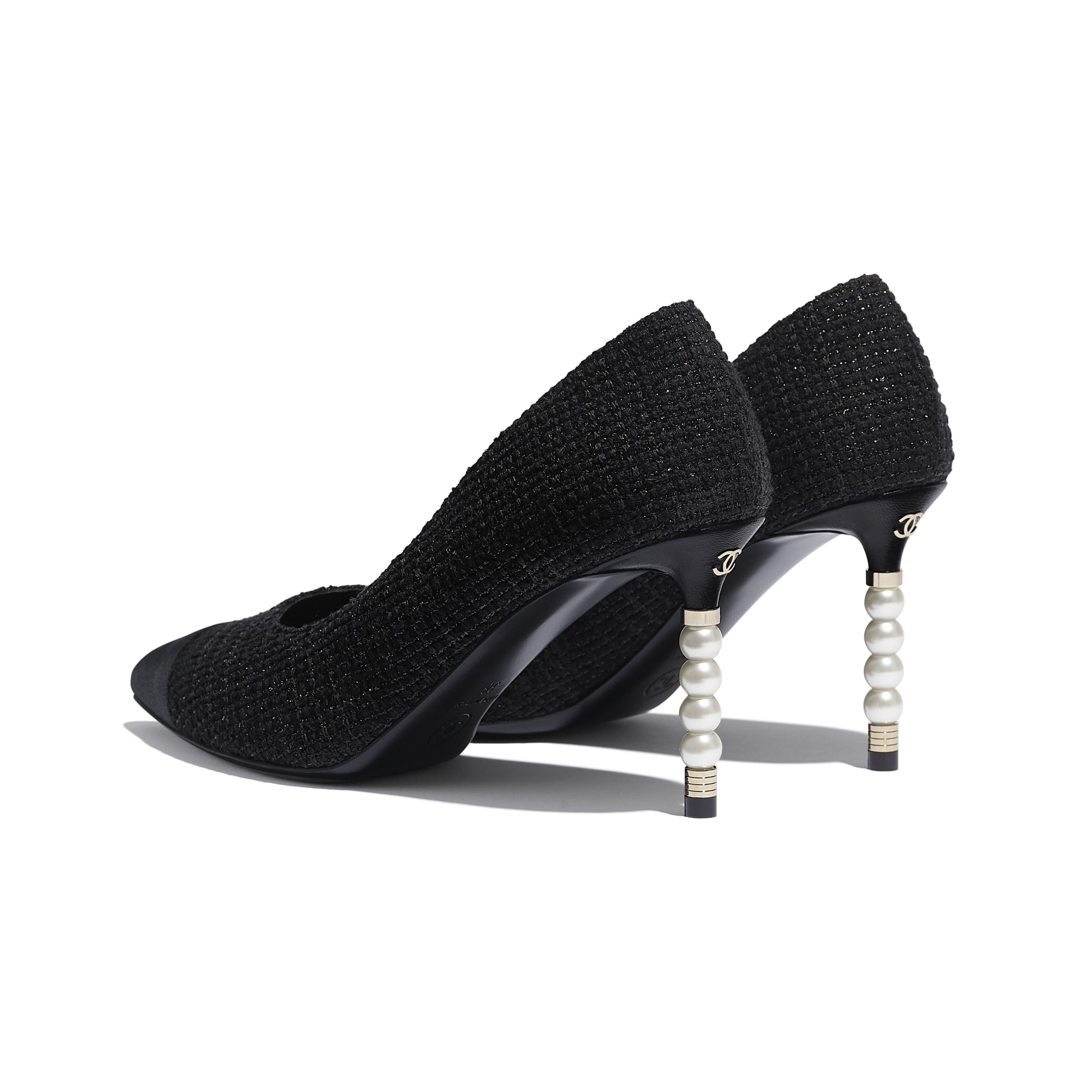 Pumps - Black - Tweed & Grosgrain - CHANEL - Other view - see standard sized version
