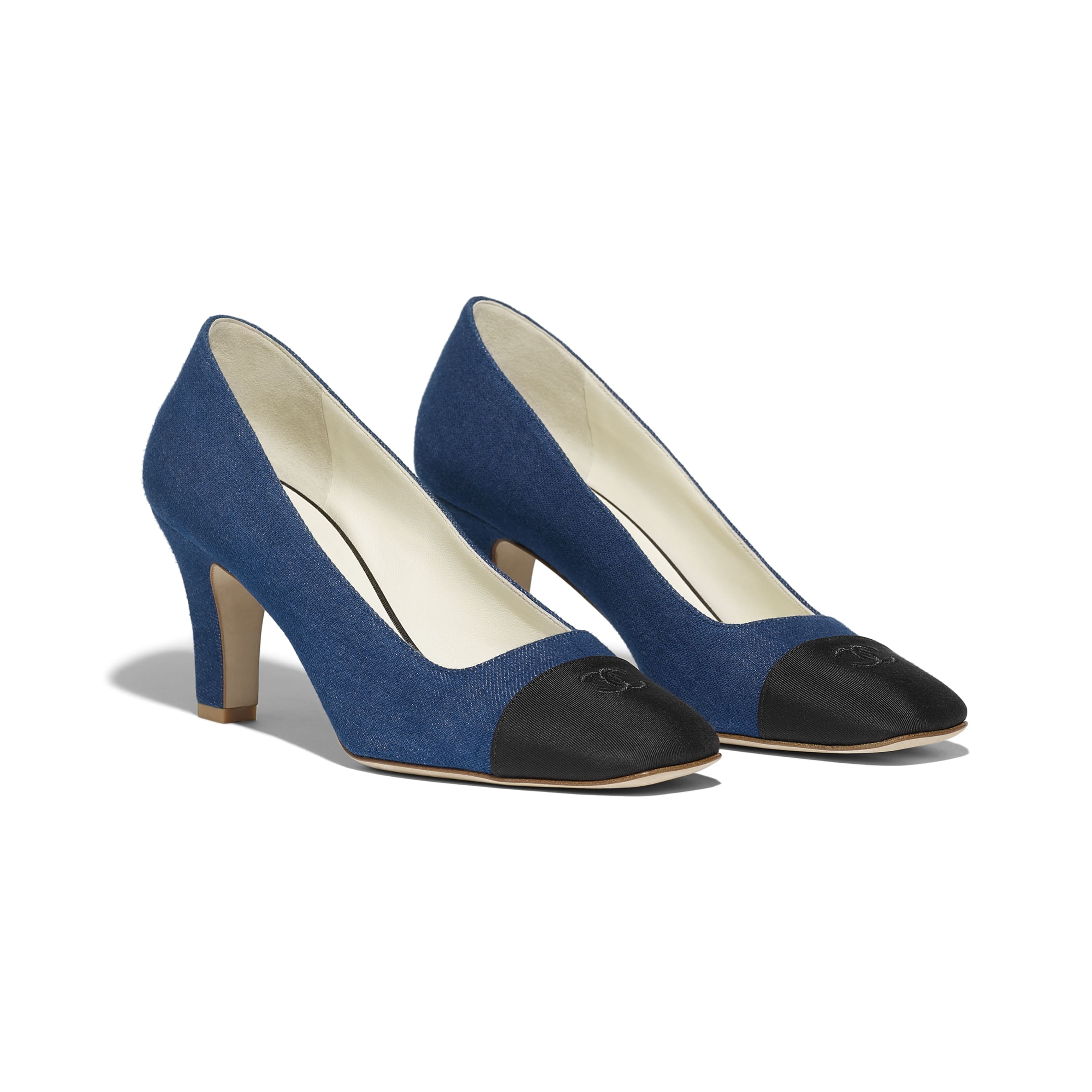 Pumps - Blue & Black - Fabric & Grosgrain - Alternative view - see standard sized version