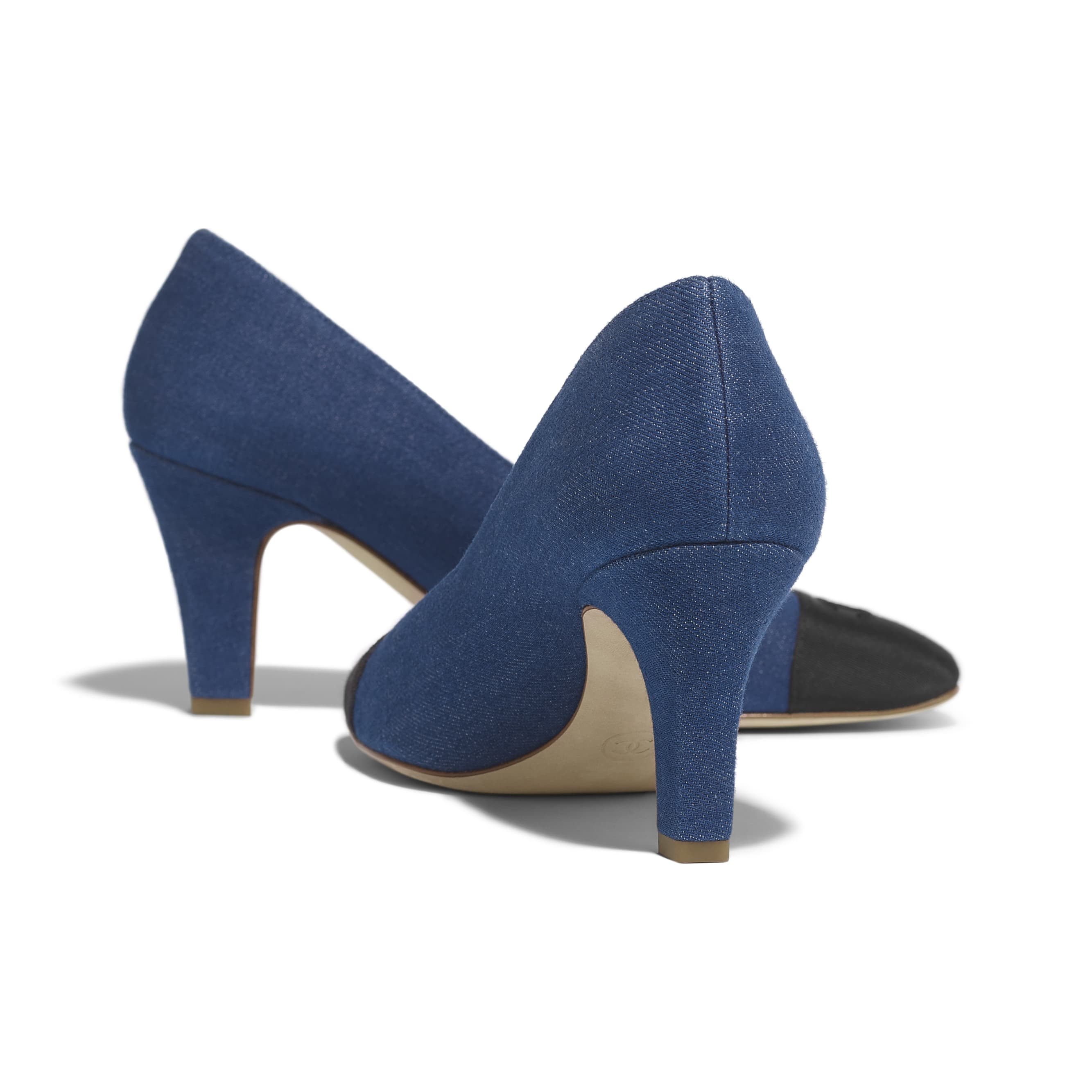 Pumps - Blue & Black - Fabric & Grosgrain - Other view - see standard sized version