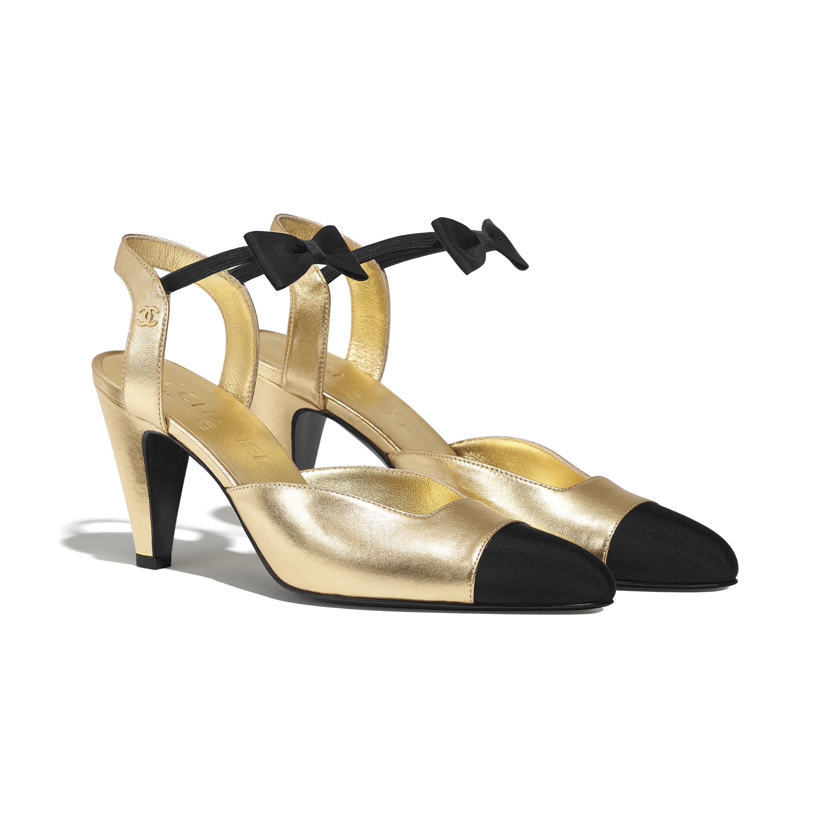Pumps - Gold & Black - Laminated Lambskin & Grosgrain - CHANEL - Alternative view - see standard sized version